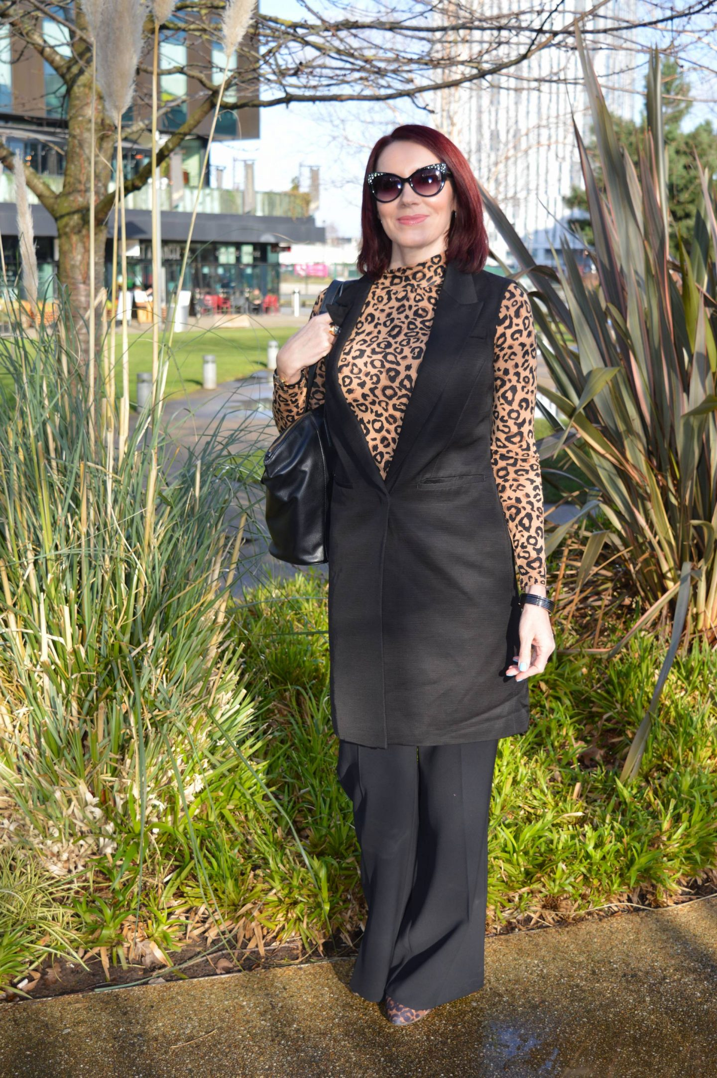 Classic Black and Leopard Print, Marks & Spencer black sleeveless jacket