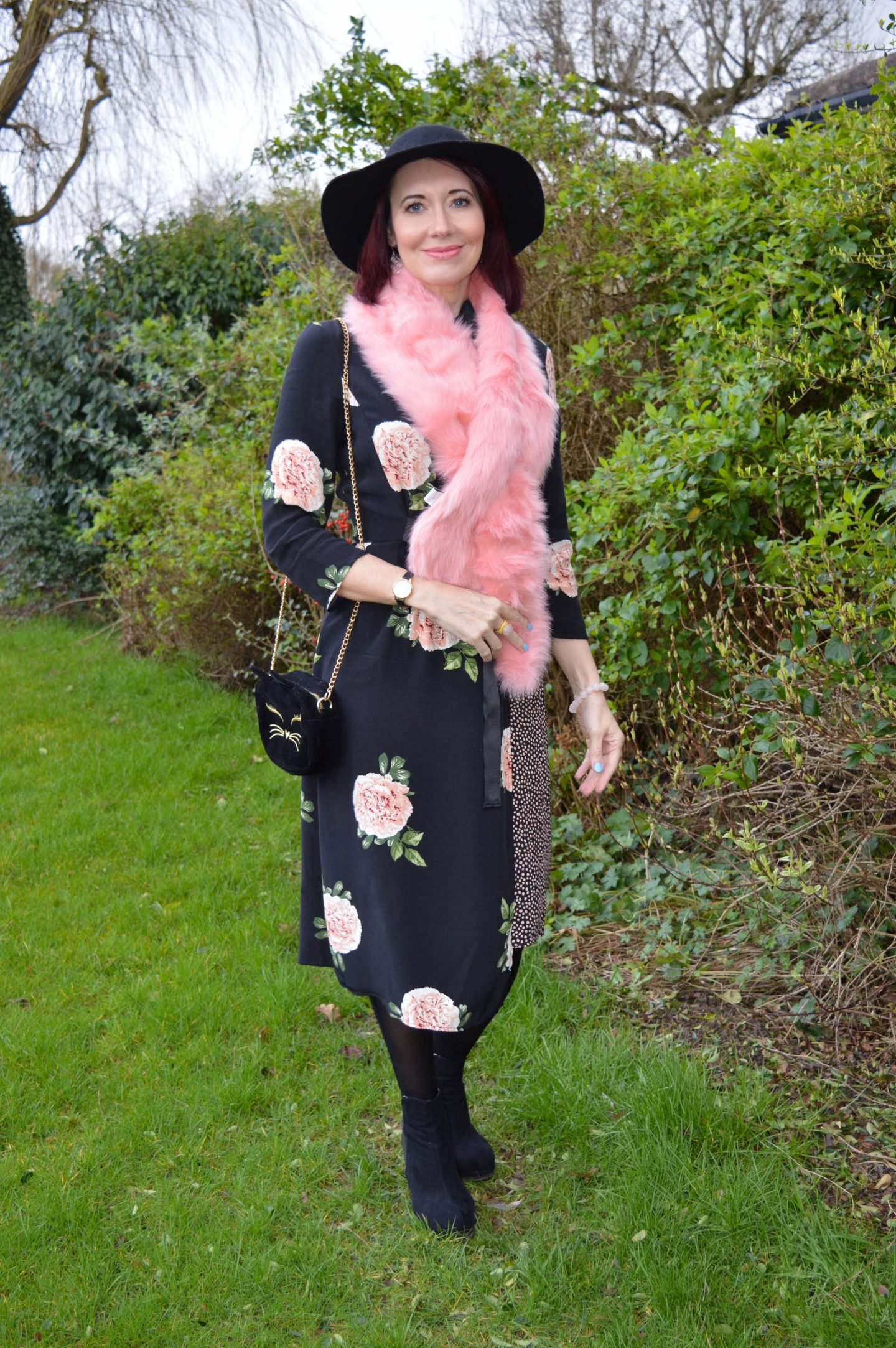 February Style Not Age: Flower Power, Nine Savannah Miller rose print dress, Skinny Dip pink faux fur scarf