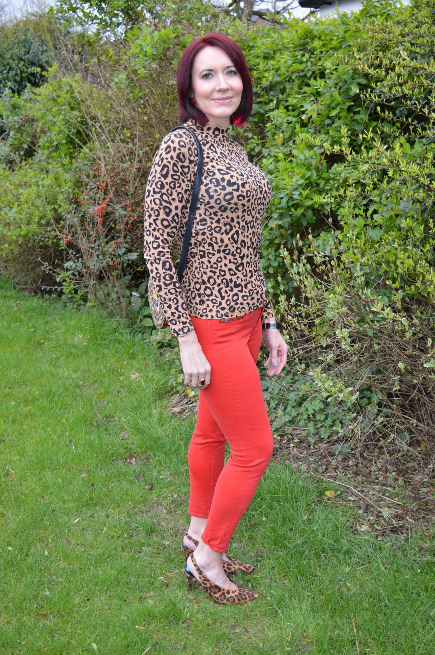 Coloured Denim For Spring - March Stylish Monday link up, Red Herring leopard print top, Skinny Dip leopard print bag, Dune leopard print sling back shoes