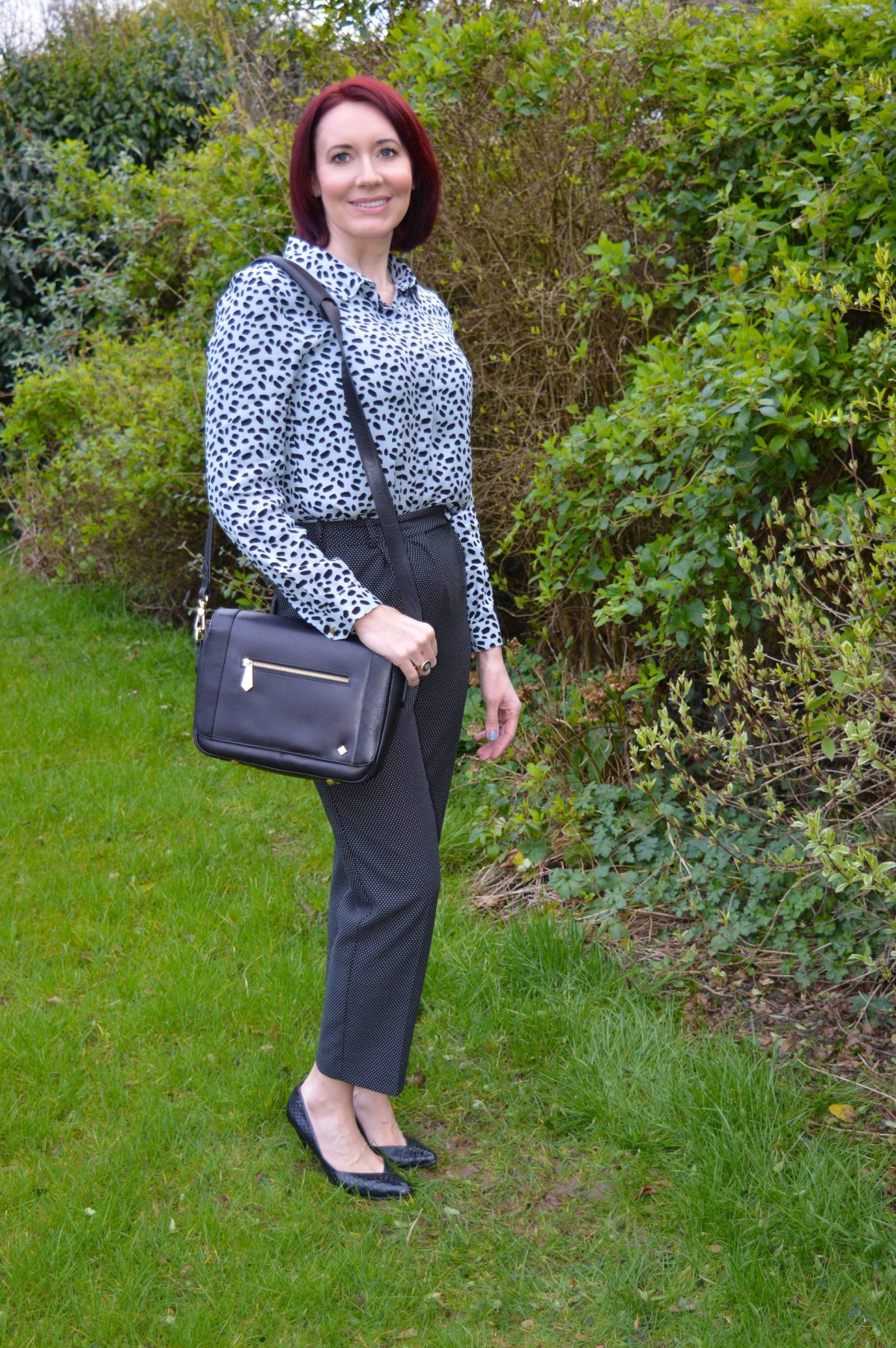 Business Casual Print Mixing, Fabienne Chapot Perfect Crazy Zoo blouse, Finery micro dot trousers, Jennifer Hamley Mini KT bag