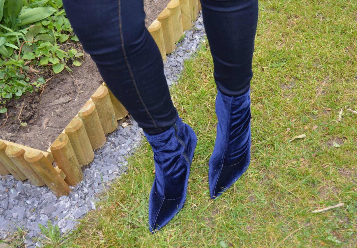 Marks and Spencer navy velvet sock boots