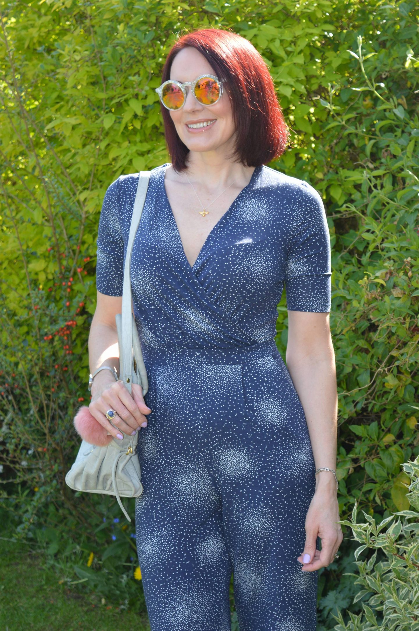 Laura Ashley jumpsuit, Skinny Dip mirrored sunglasses