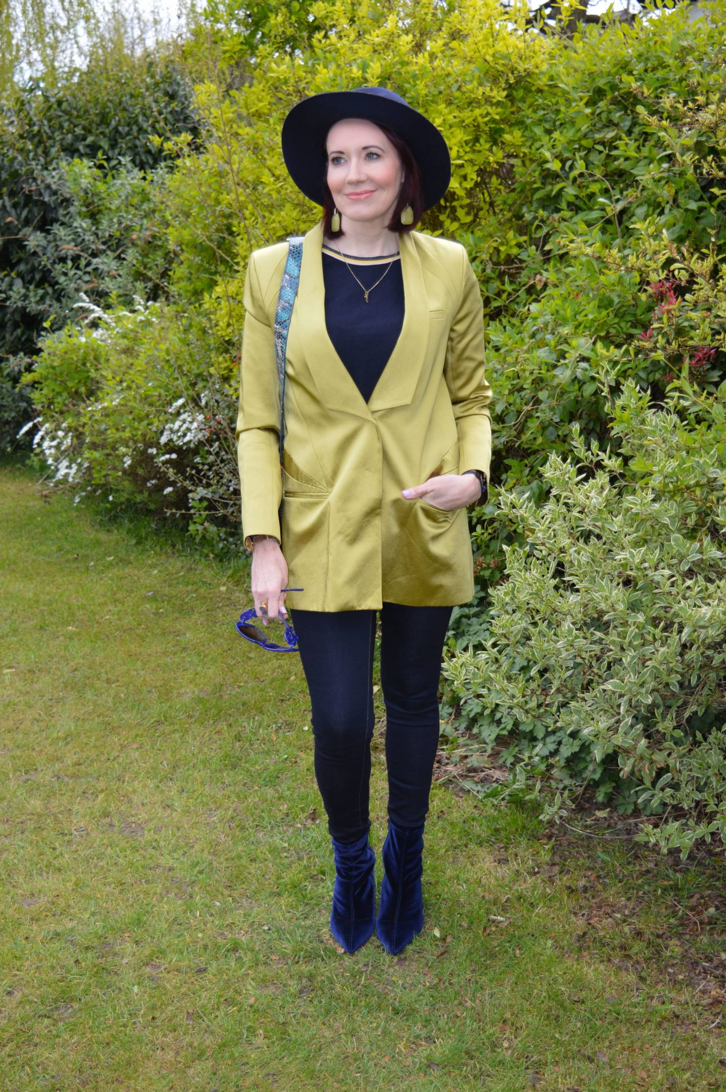 Spring Green and Navy, Matthew Williamson green jacket, Scotch and Soda navy jumper