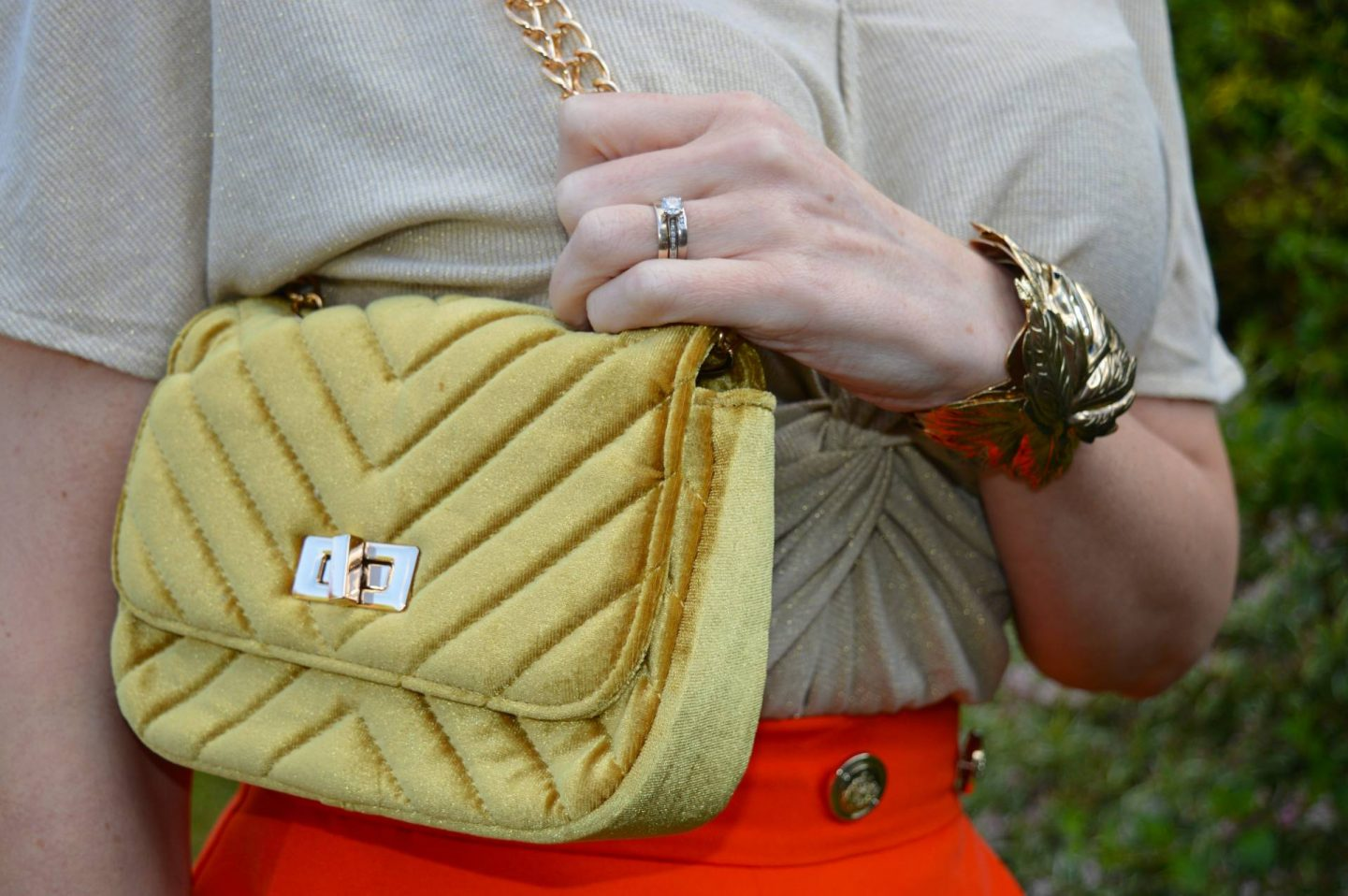 Warehouse yellow velvet quilted bag