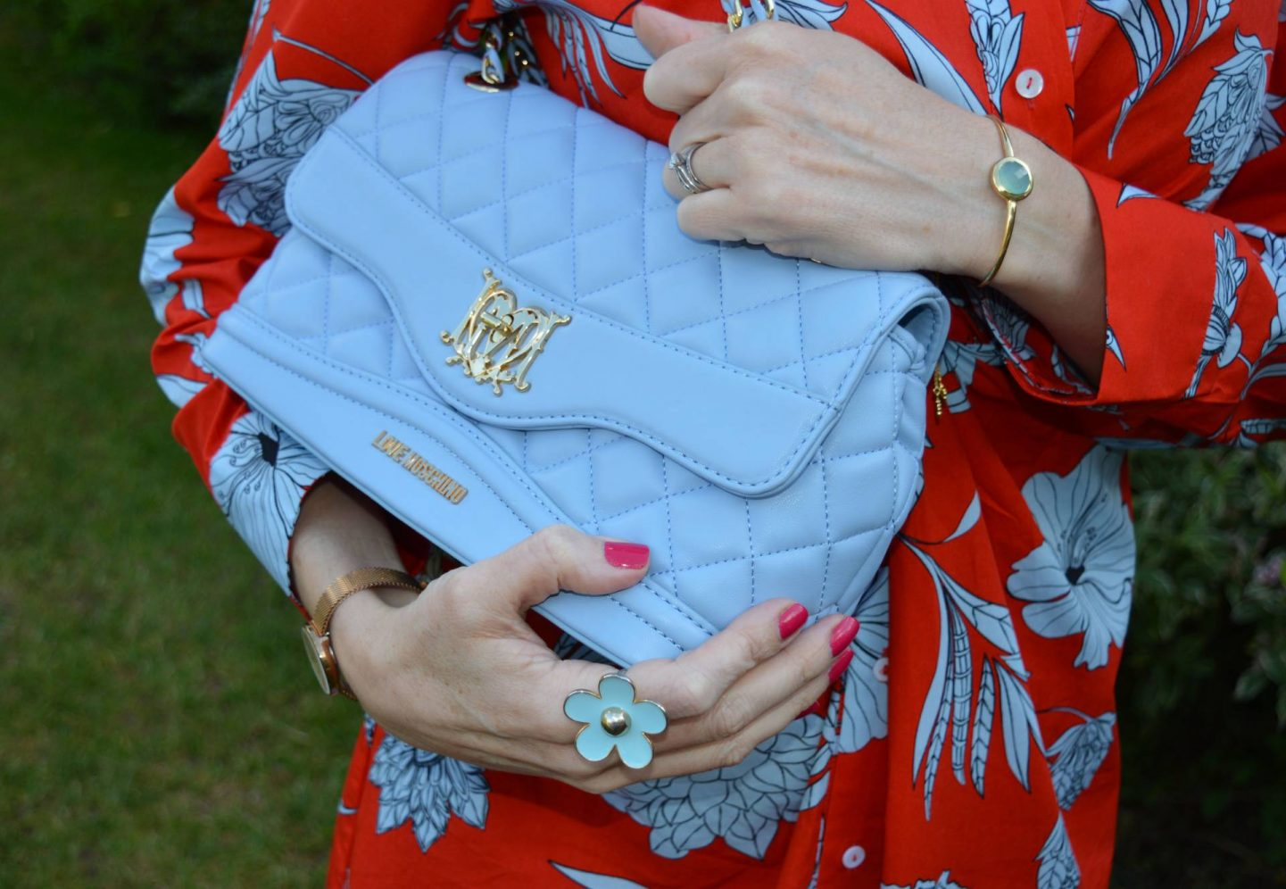 Love Moschino pale blue bag