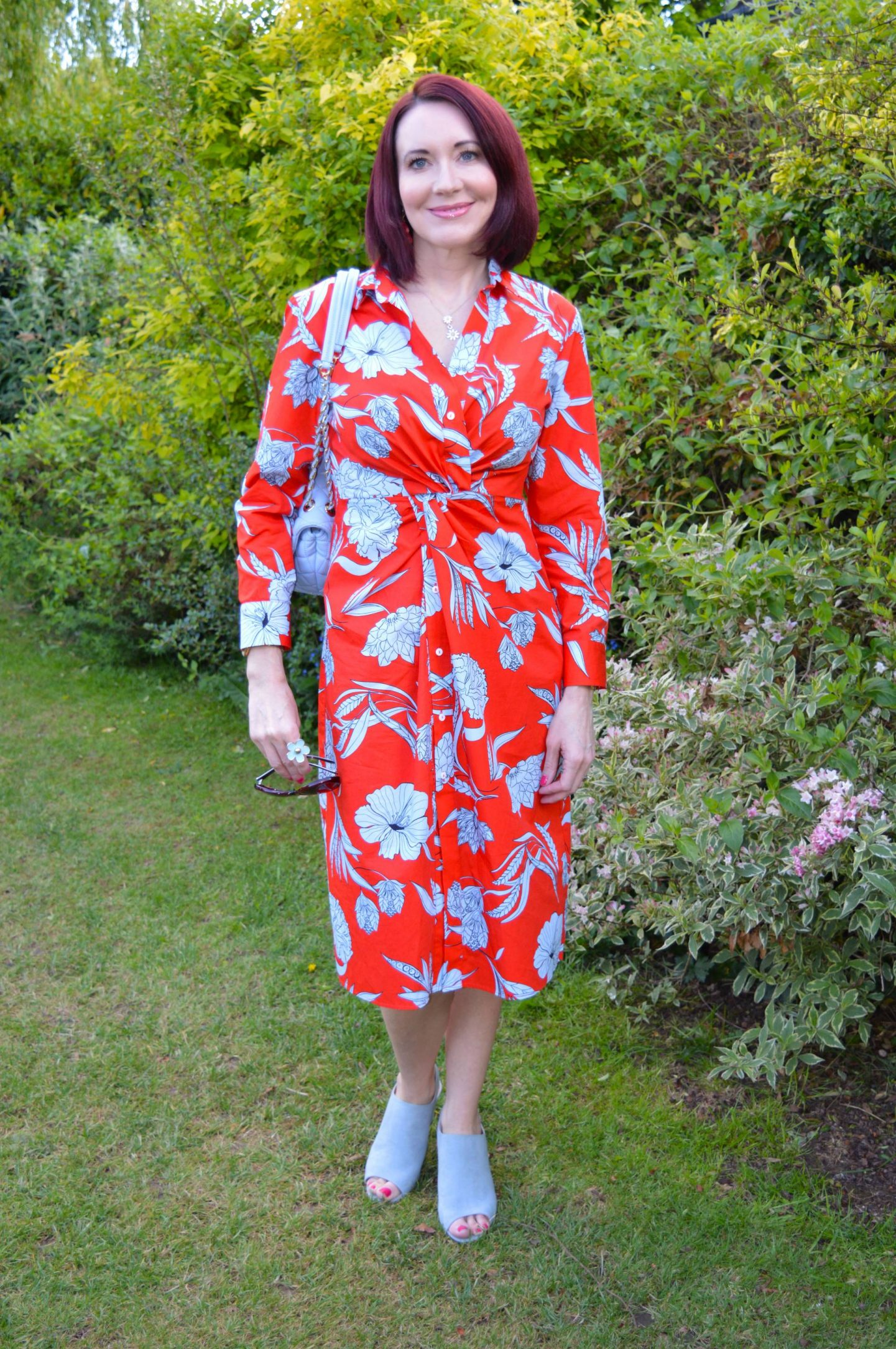 Fresh Florals For May, Zara red and blue floral print shirt dress