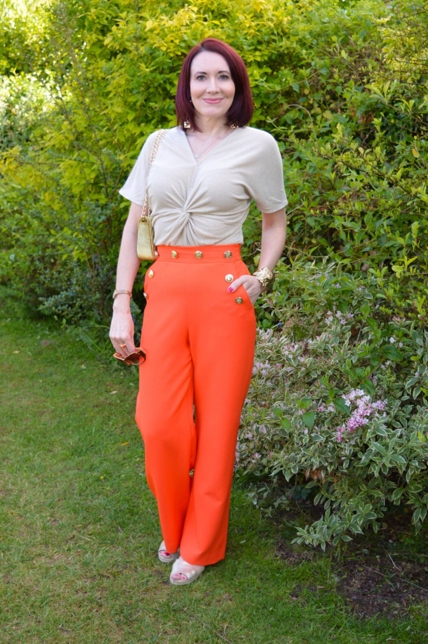 River Island trousers, Marks & Spencer gold twist top