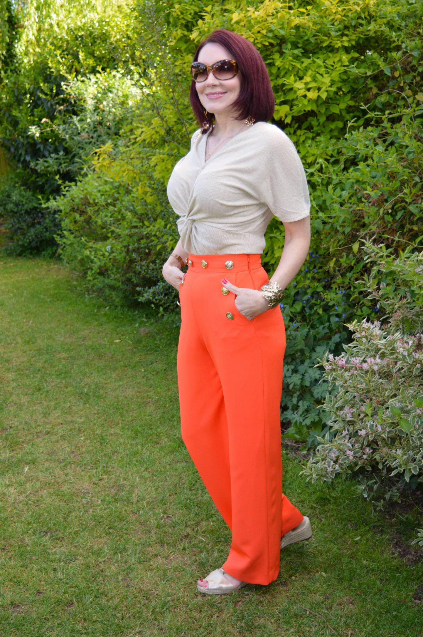 Bright Orange and Gold, orange River Island trousers, Marks & Spencer gold twist top