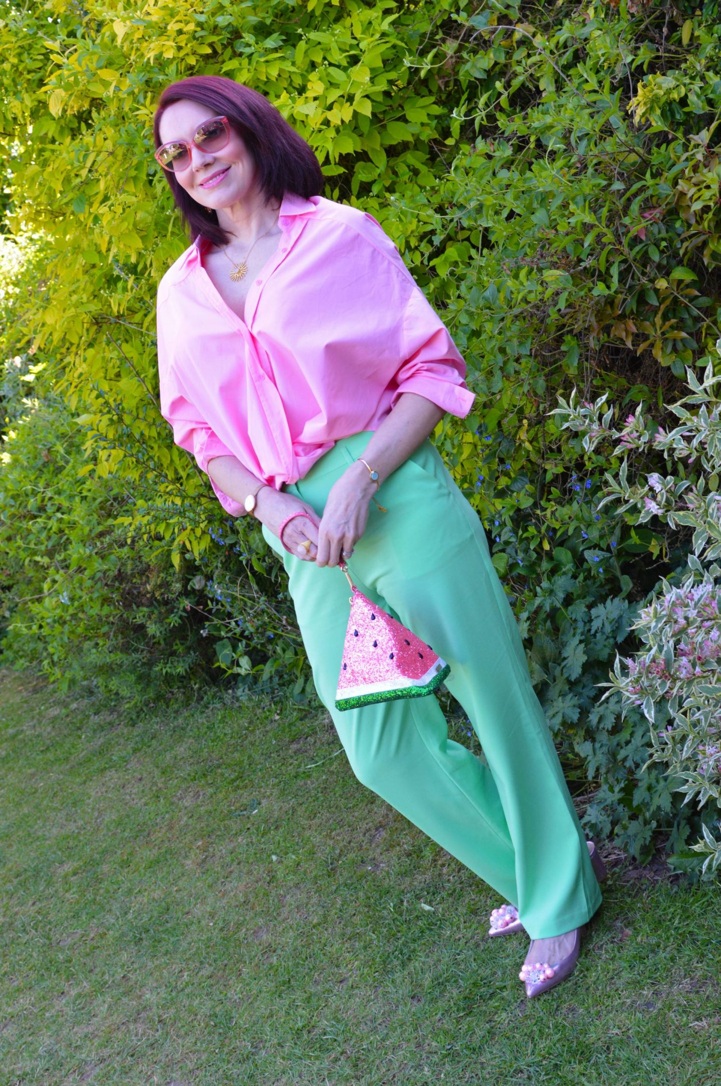 Pastel Pink and Green + Style With a Smile link up, asos lime green trousers, Skinny Dip glitter watermelon bag