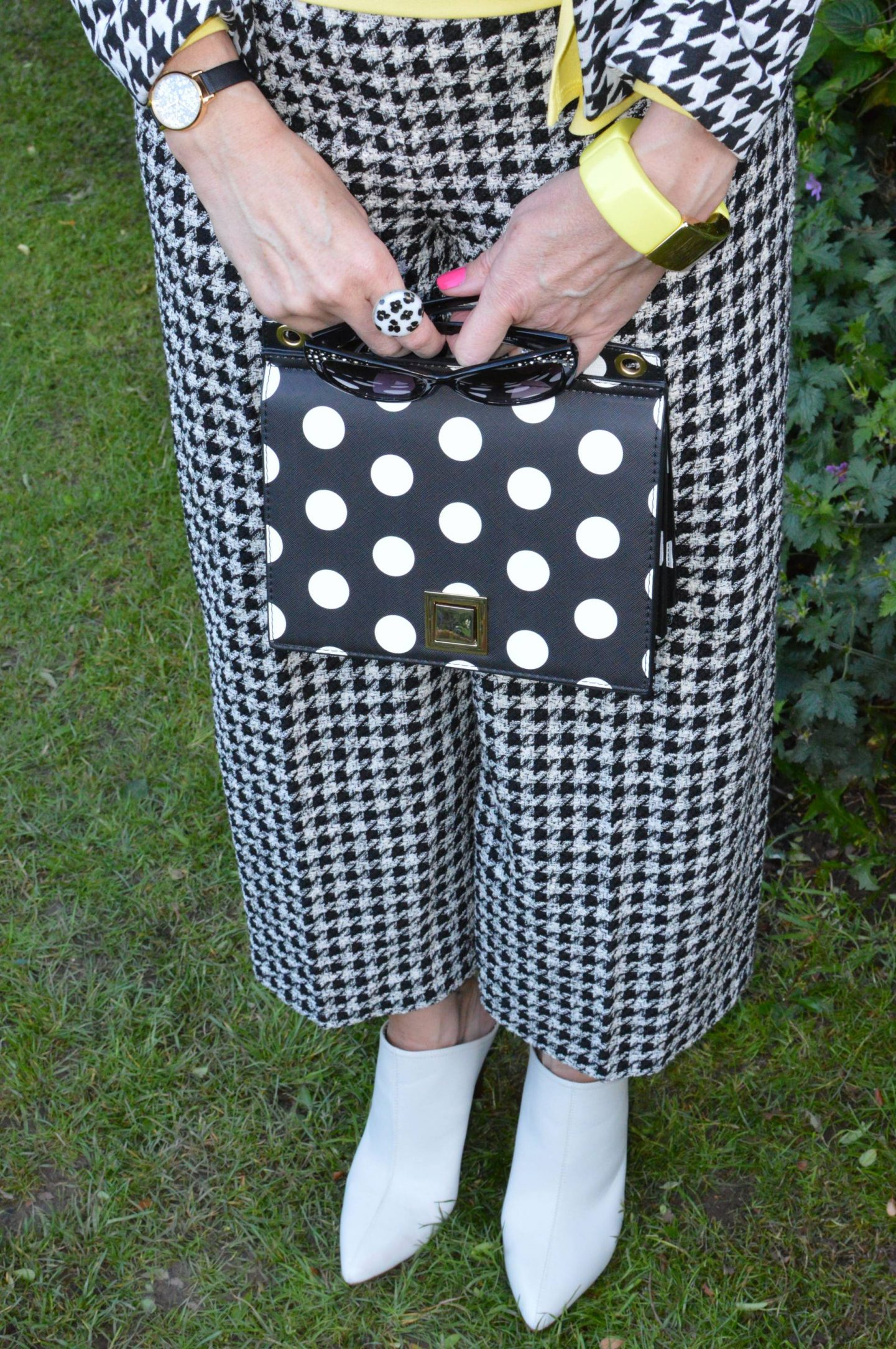 Zara houndstooth trousers, Mango polka dot bag