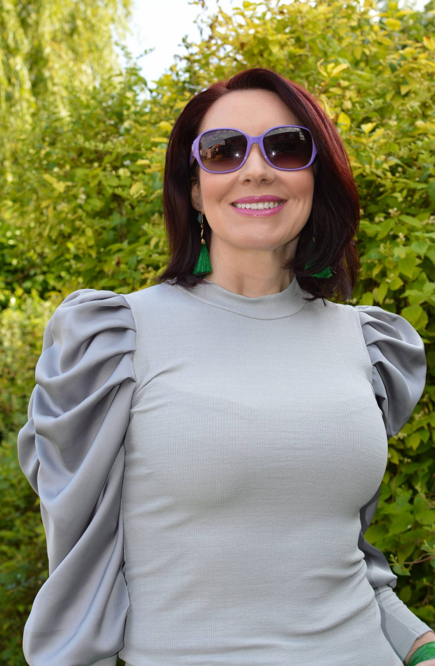 New Look grey satin sleeve top, Ted Baker purple sunglasses