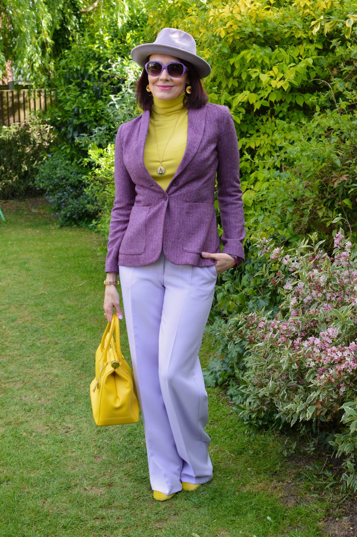 Lavender and Golden Yellow, River Island lilac trousers, Anthropologie lilac fedora, Maje purple tweed jacket, Karen Millen yellow high neck sweater