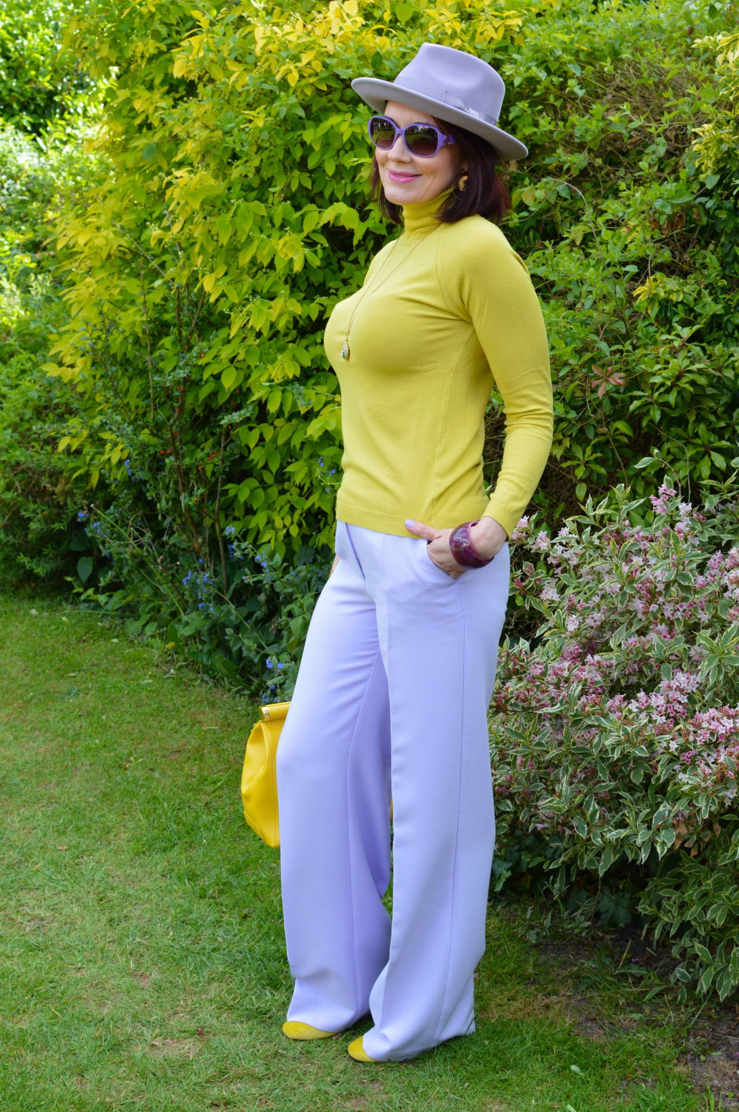 Lavender and Golden Yellow, River Island lilac trousers, Anthropologie lilac fedora, Karen Millen yellow high neck sweater