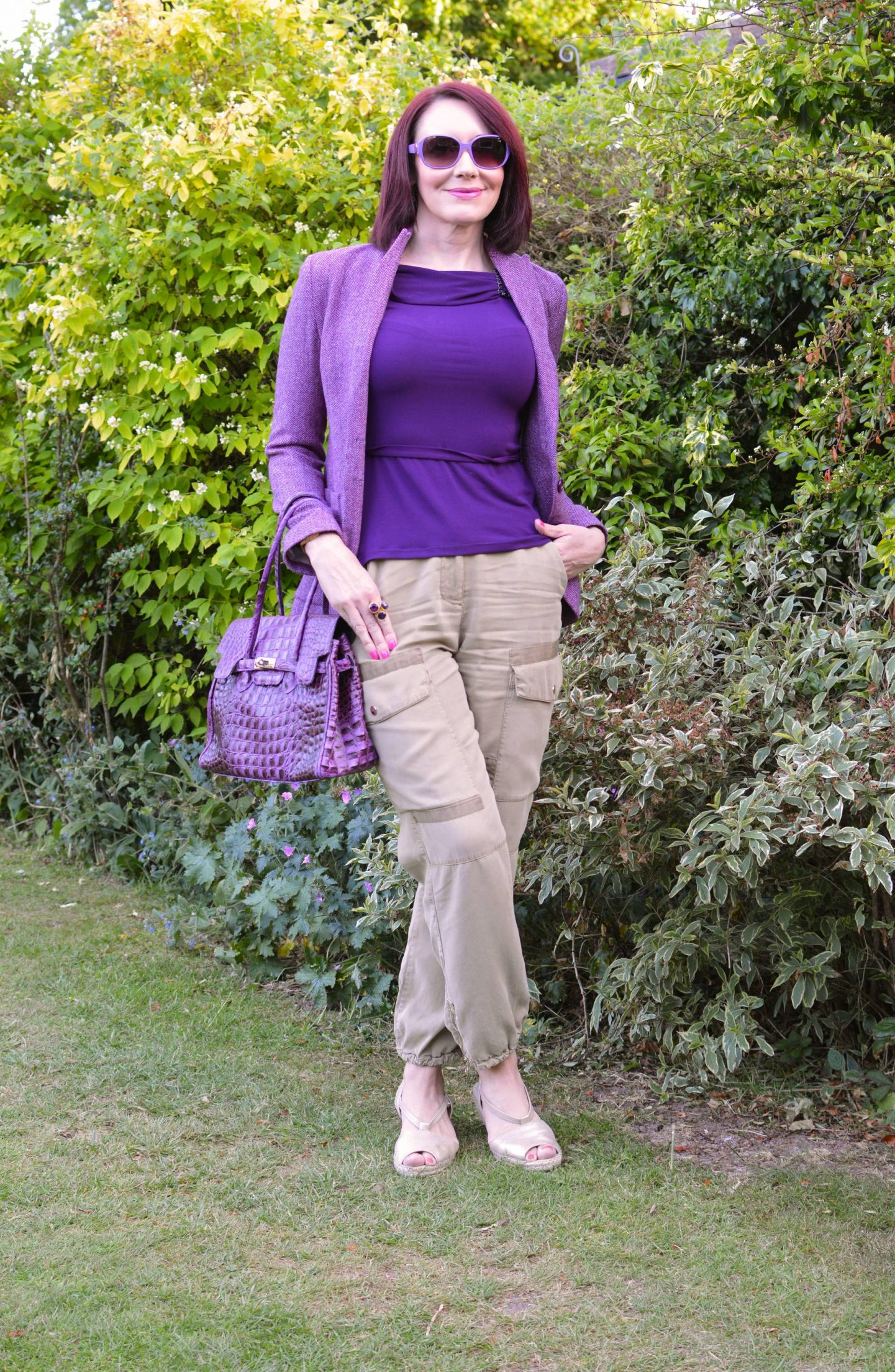 Mixing Shades of Purple With Beige Cargo Trousers, Maje purple jacket, River Island beige cargo trousers