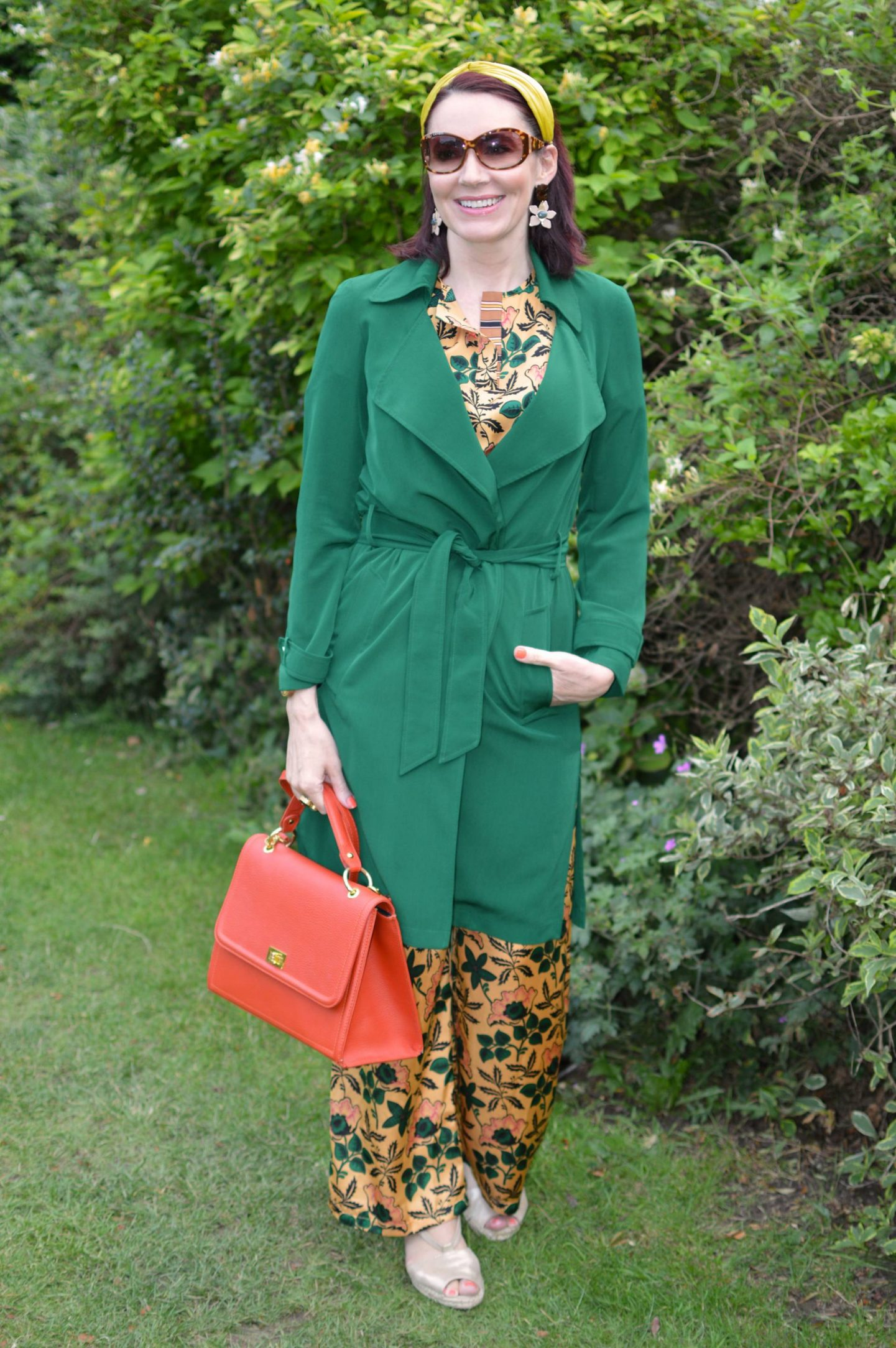 Scotch & Soda Floral Print Co-ord, green Papaya trench coat