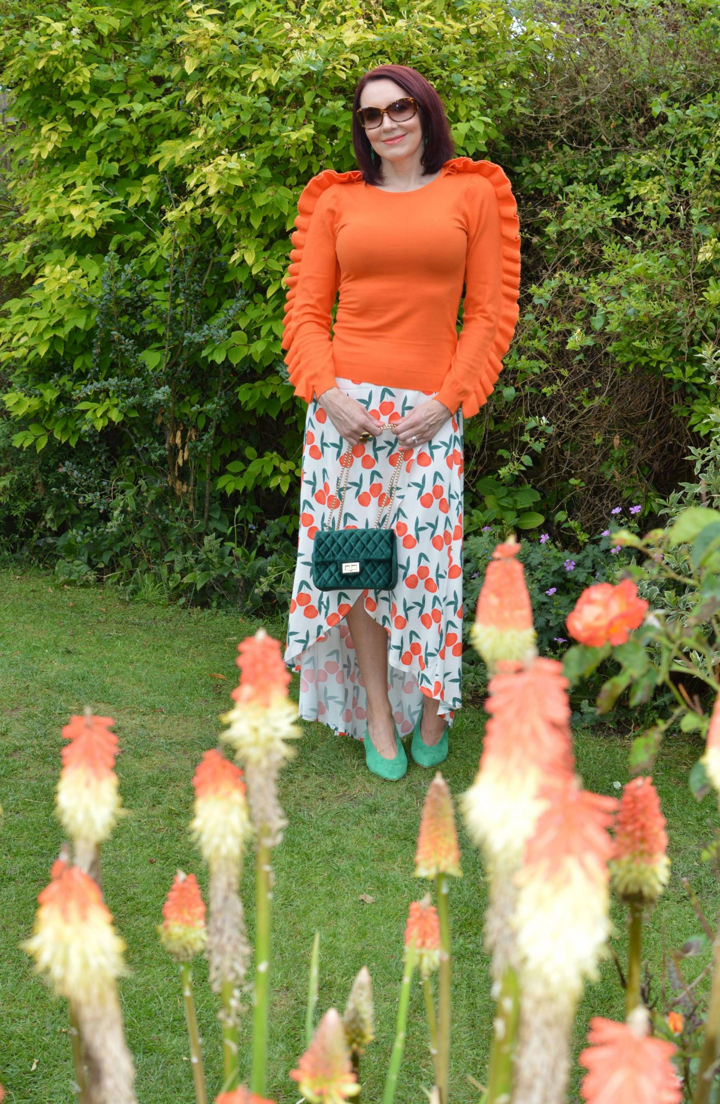 Fabienne Chapot Peach Print Skirt, Karen Millen orange ruffle jumper