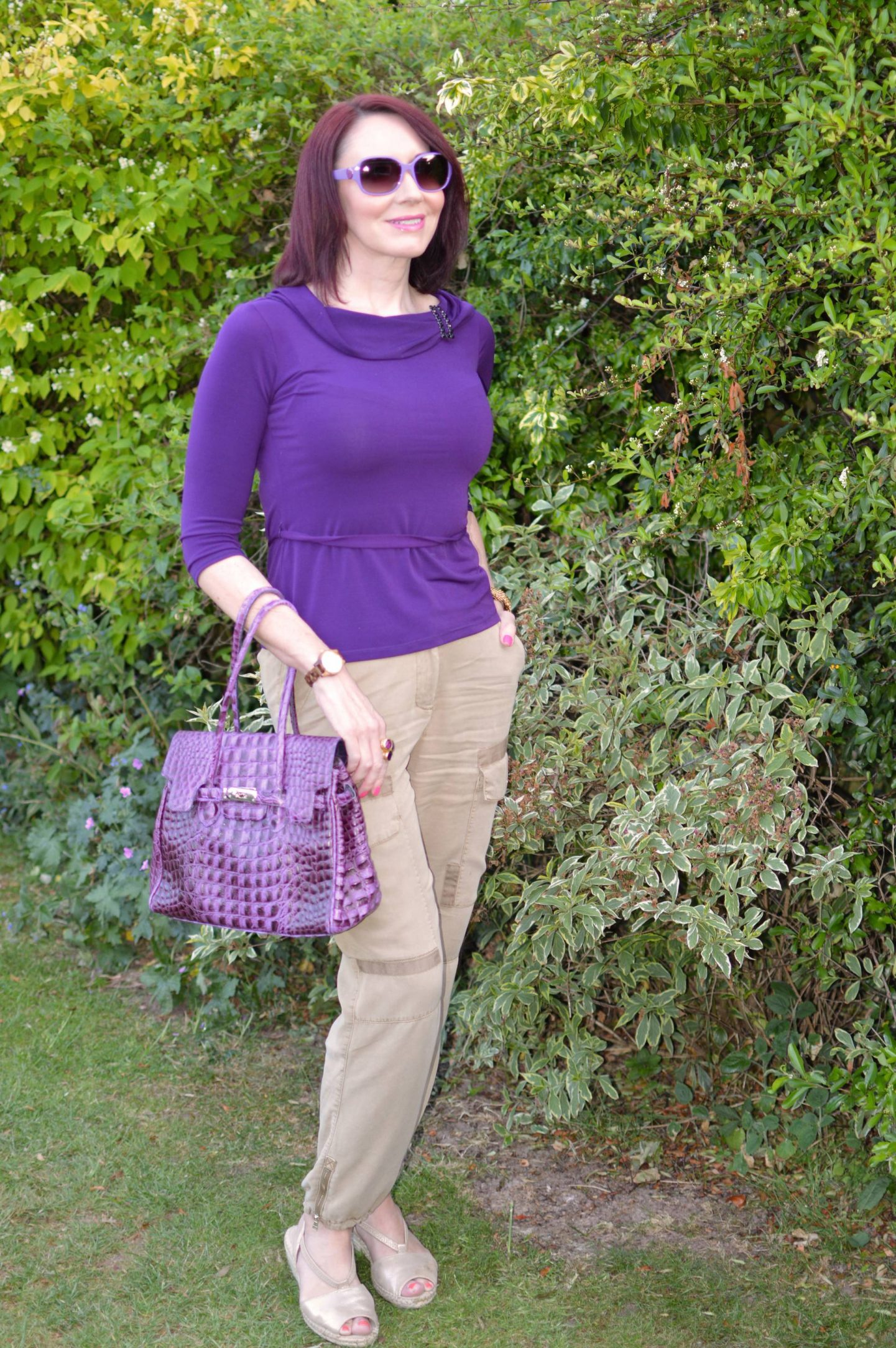 Mixing Shades of Purple With Beige Cargo Trousers, Wallis purple top, River Island beige cargo trousers