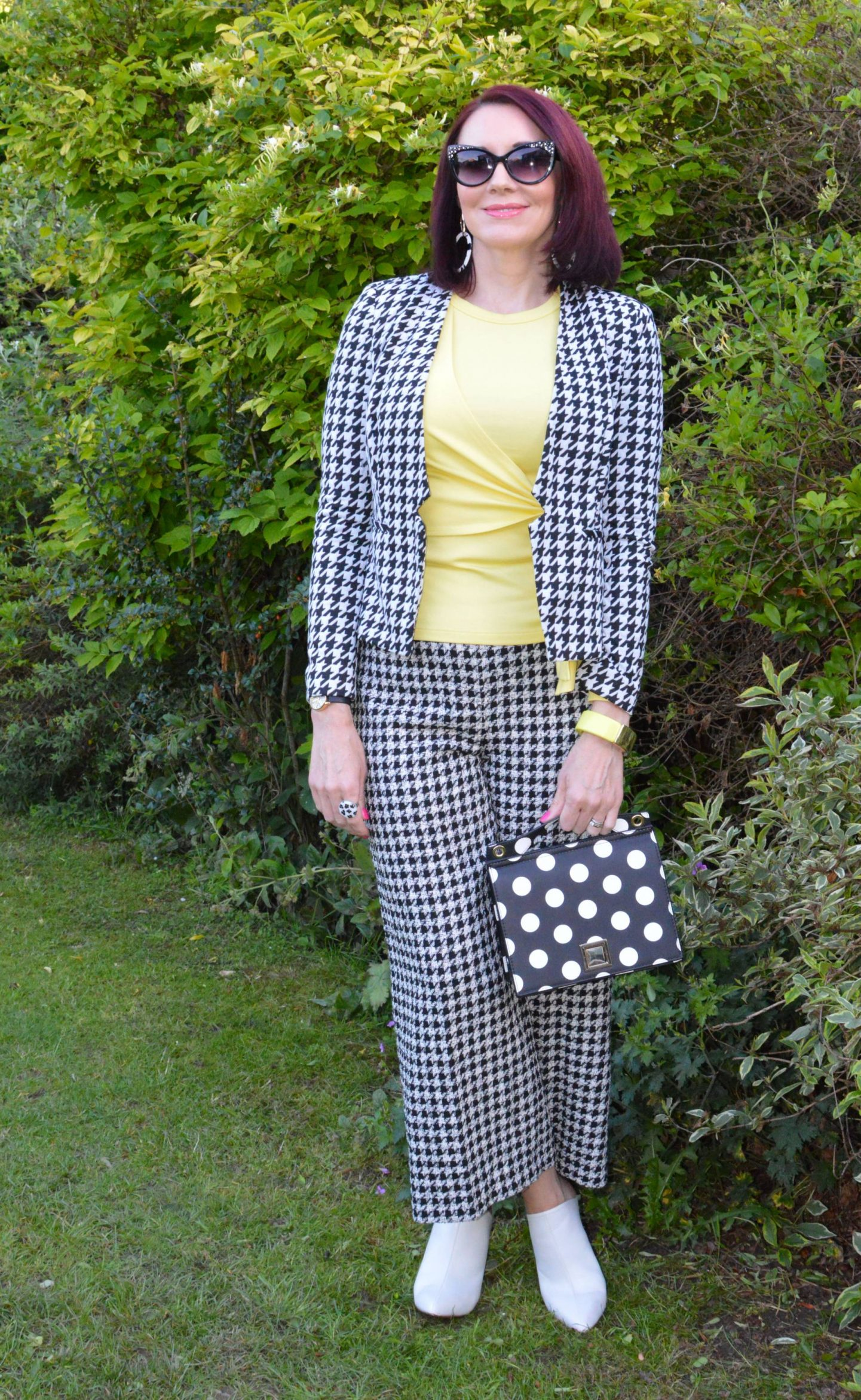 Check Me Out! - June's Style Not Age, Marks & Spencer houndstooth jacket, Zara houndstooth trousers, Mango polka dot bag, Karen Millen yellow tie front top