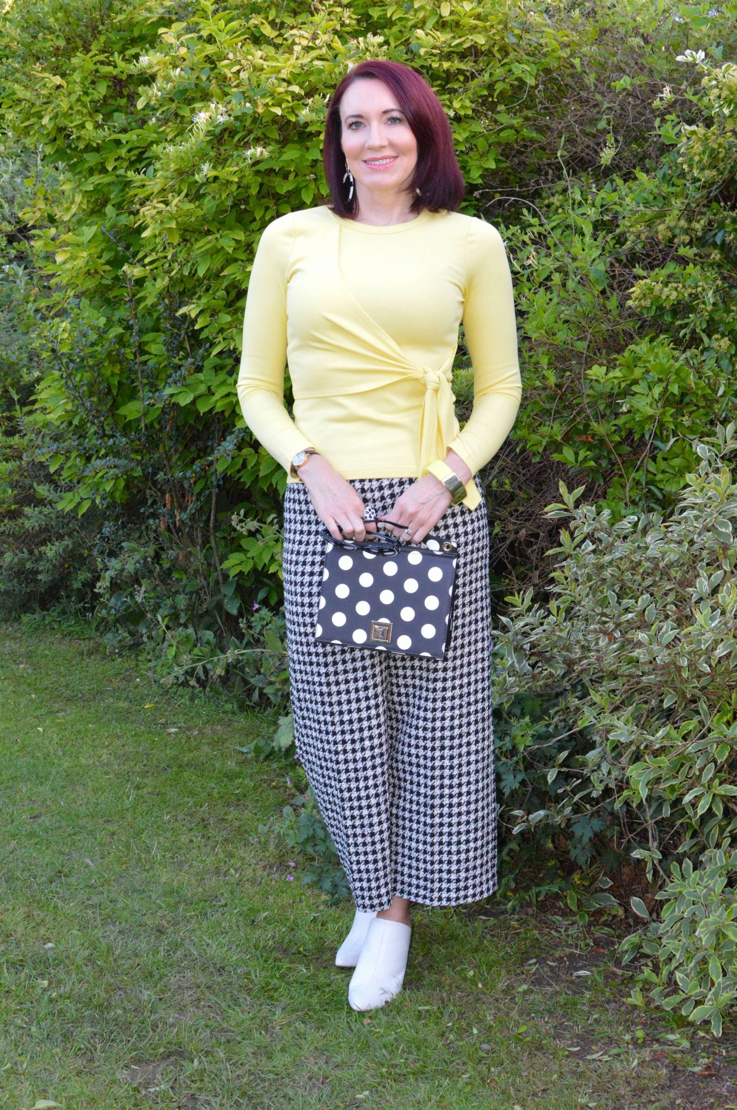 Check Me Out! - June's Style Not Age, Zara houndstooth trousers, Mango polka dot bag, Karen Millen yellow tie front top