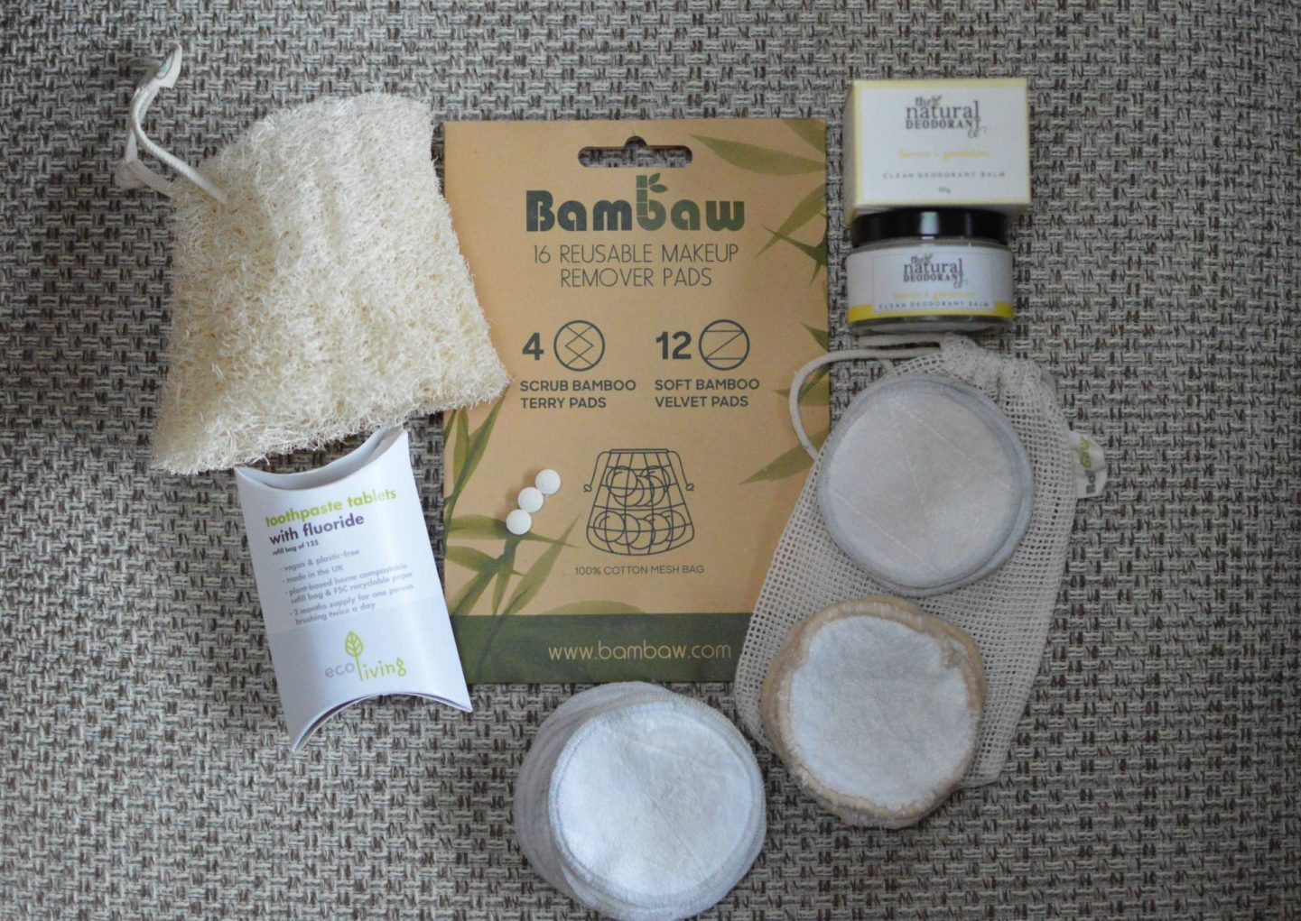 Easy Eco-Friendly Beauty Swaps, Bambaw reusable makeup pads, ecoLiving toothpaste tablets, The Natural Deodorant Co balm