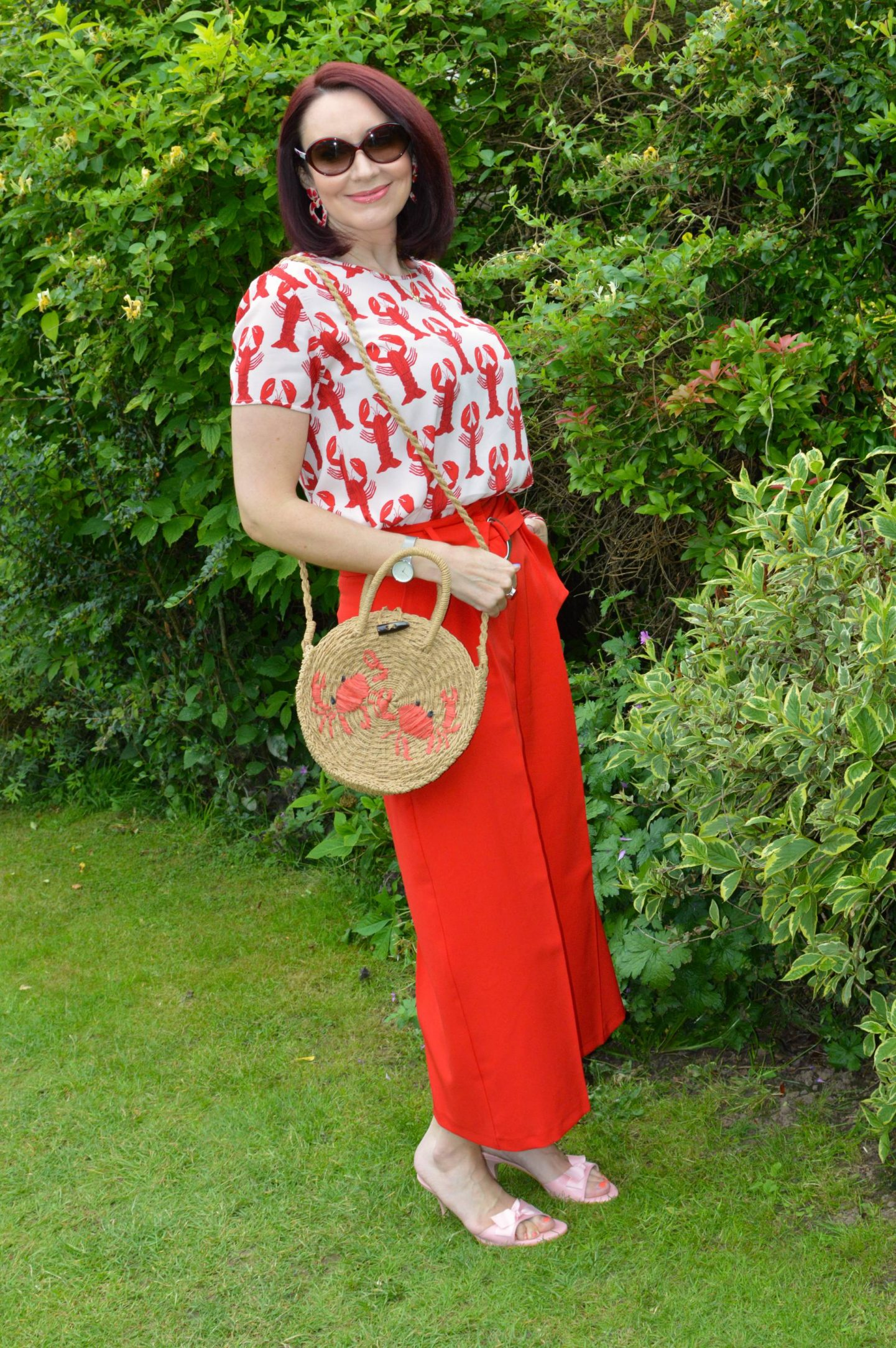 Fabienne Chapot Lobster Print Top and Red Trousers