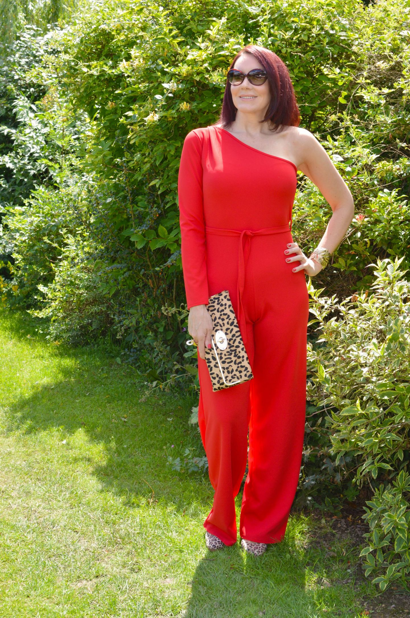 Femme Luxe Red One Shoulder Jumpsuit With Leopard Print Accessories