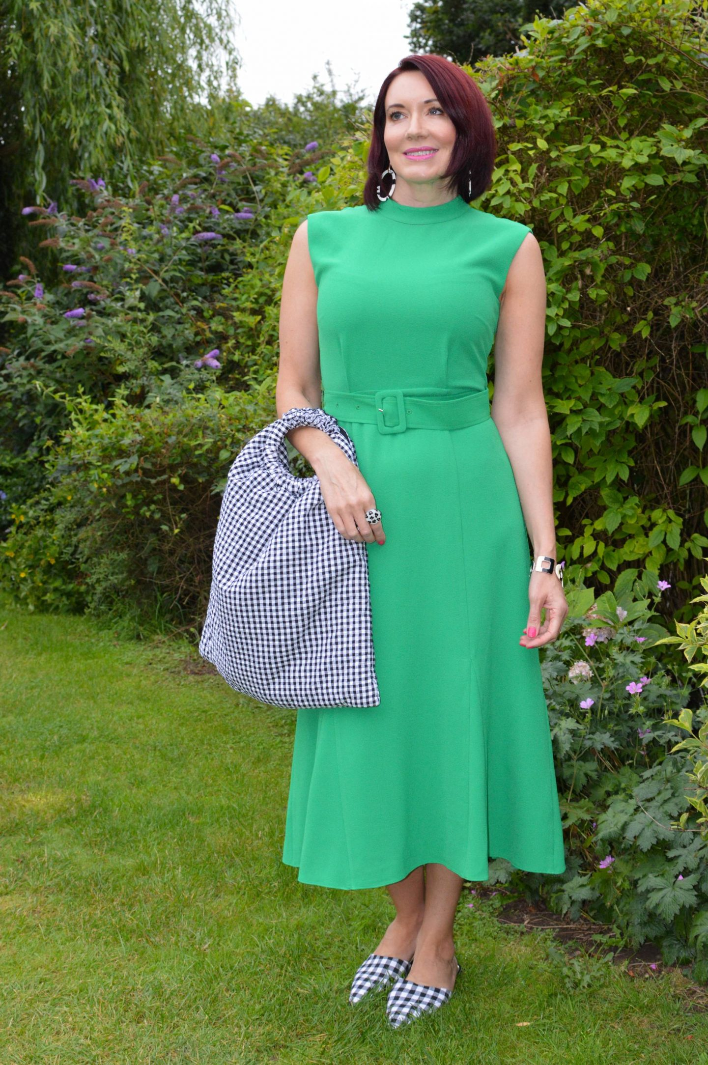 Emerald Green and Gingham + Style With a Smile Link Up, Whistles Penny belted dress