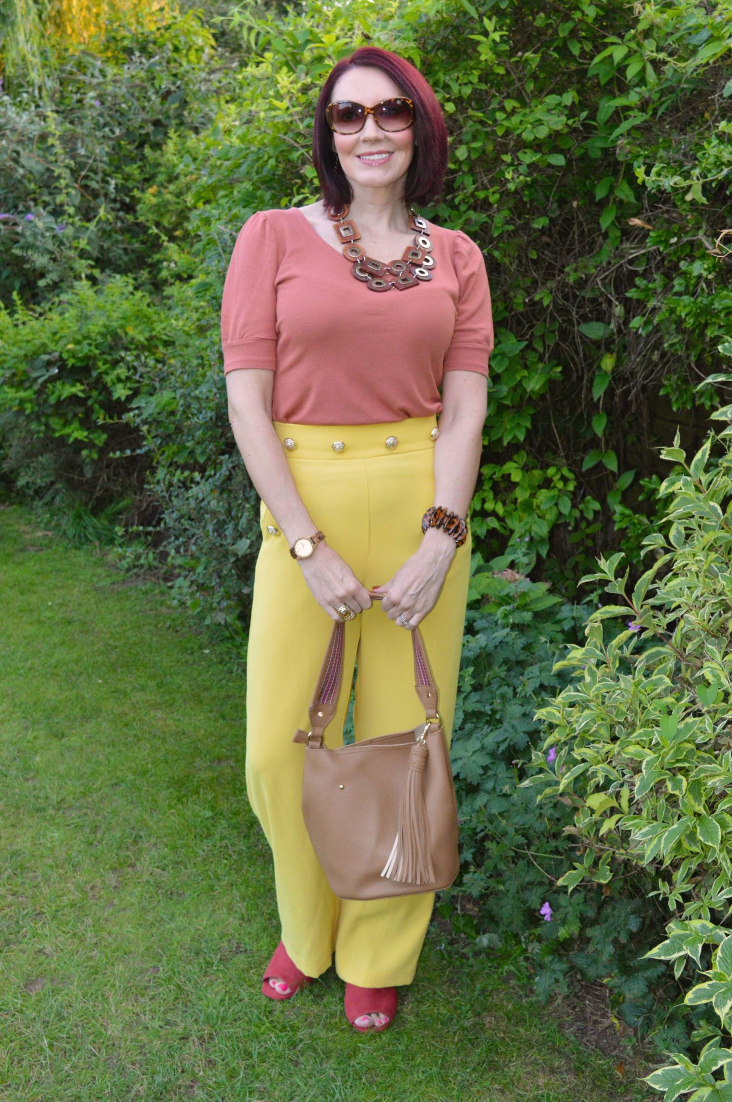 Yellow and Burnt Orange, River Island yellow trousers
