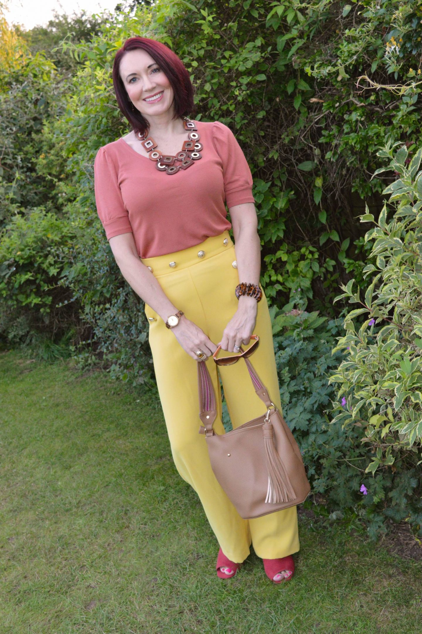 Yellow and Burnt Orange, River Island yellow trousers, H&M chunky wooden necklace