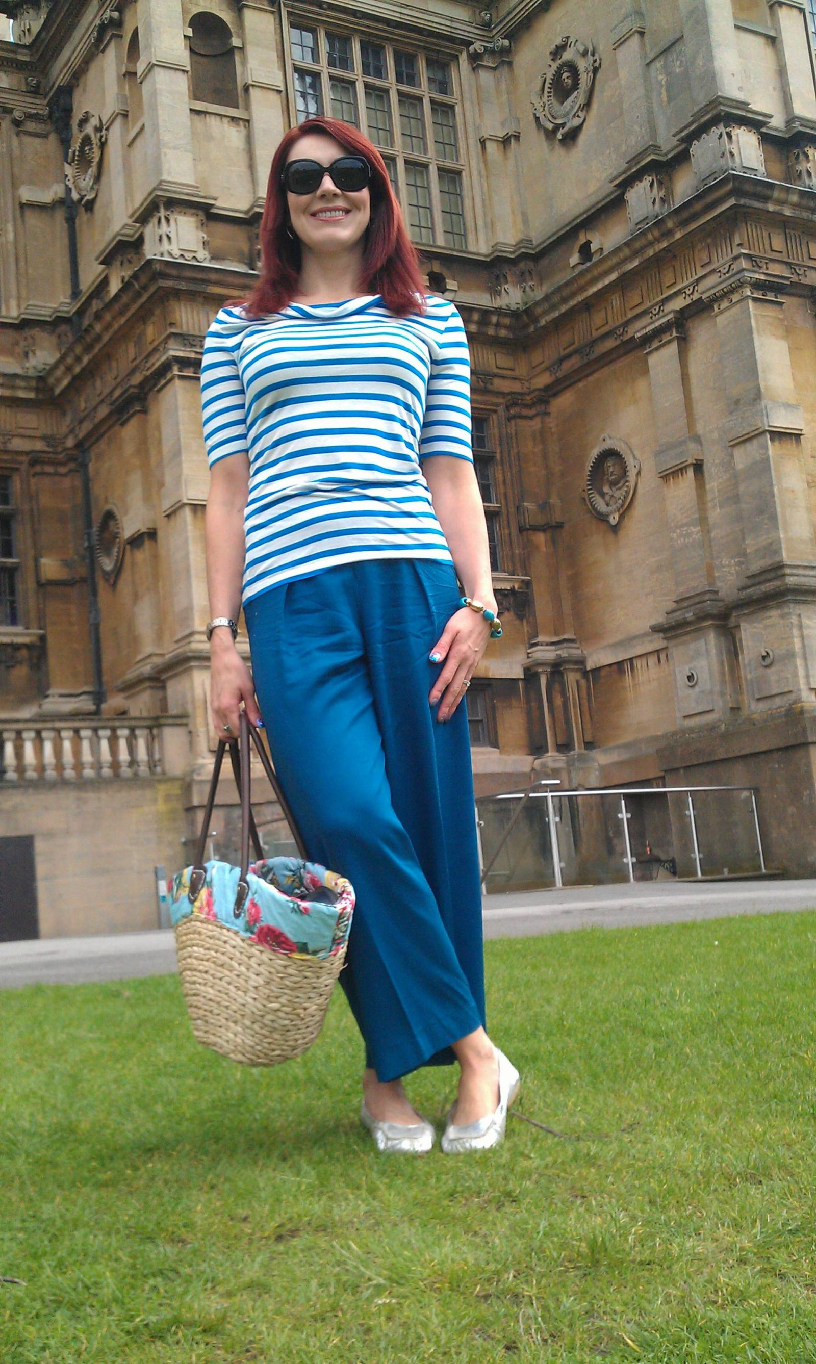 Sailor Girl Style in Culottes and Breton Top