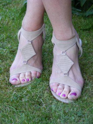 Dune cream suede sandals