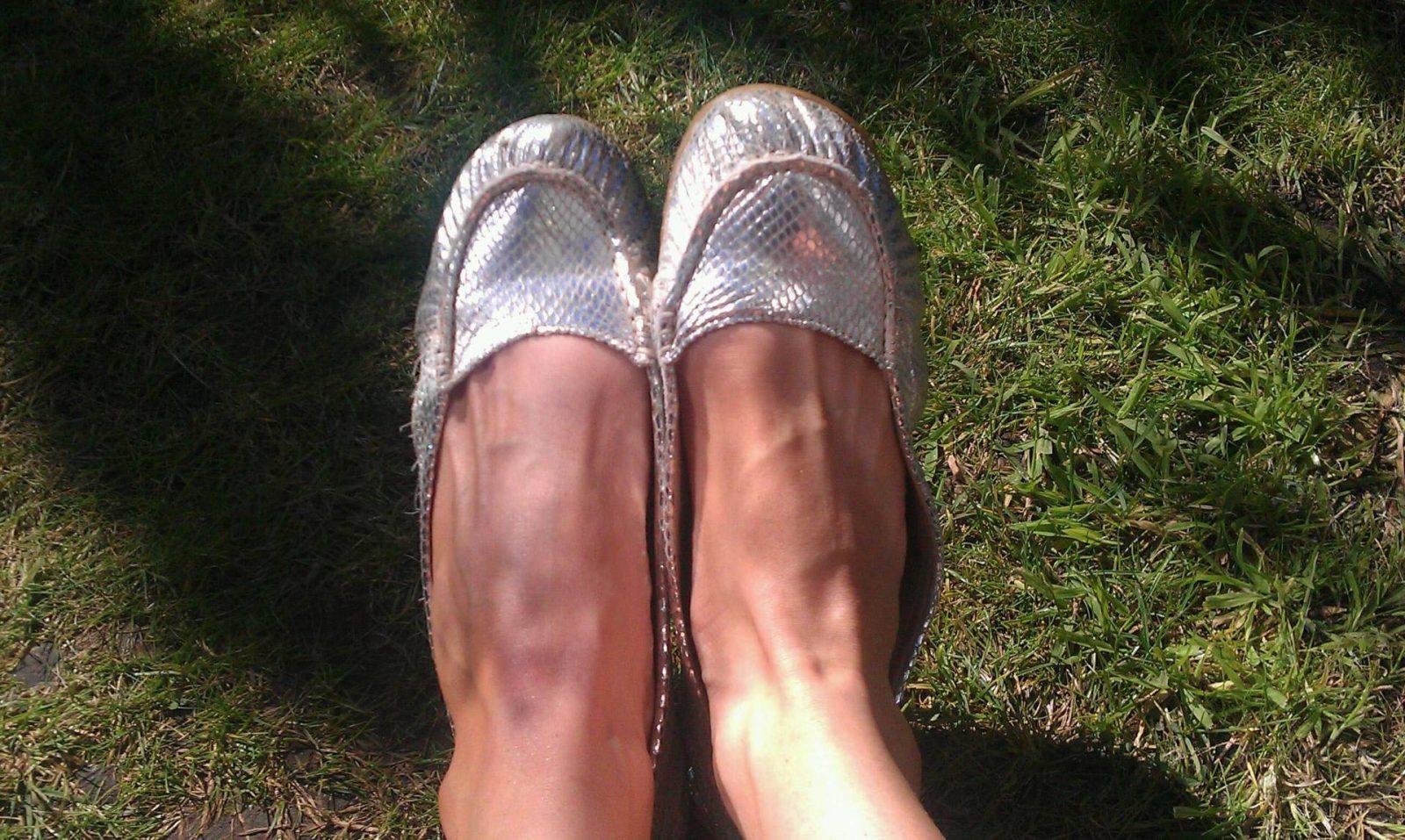 silver ballet pumps