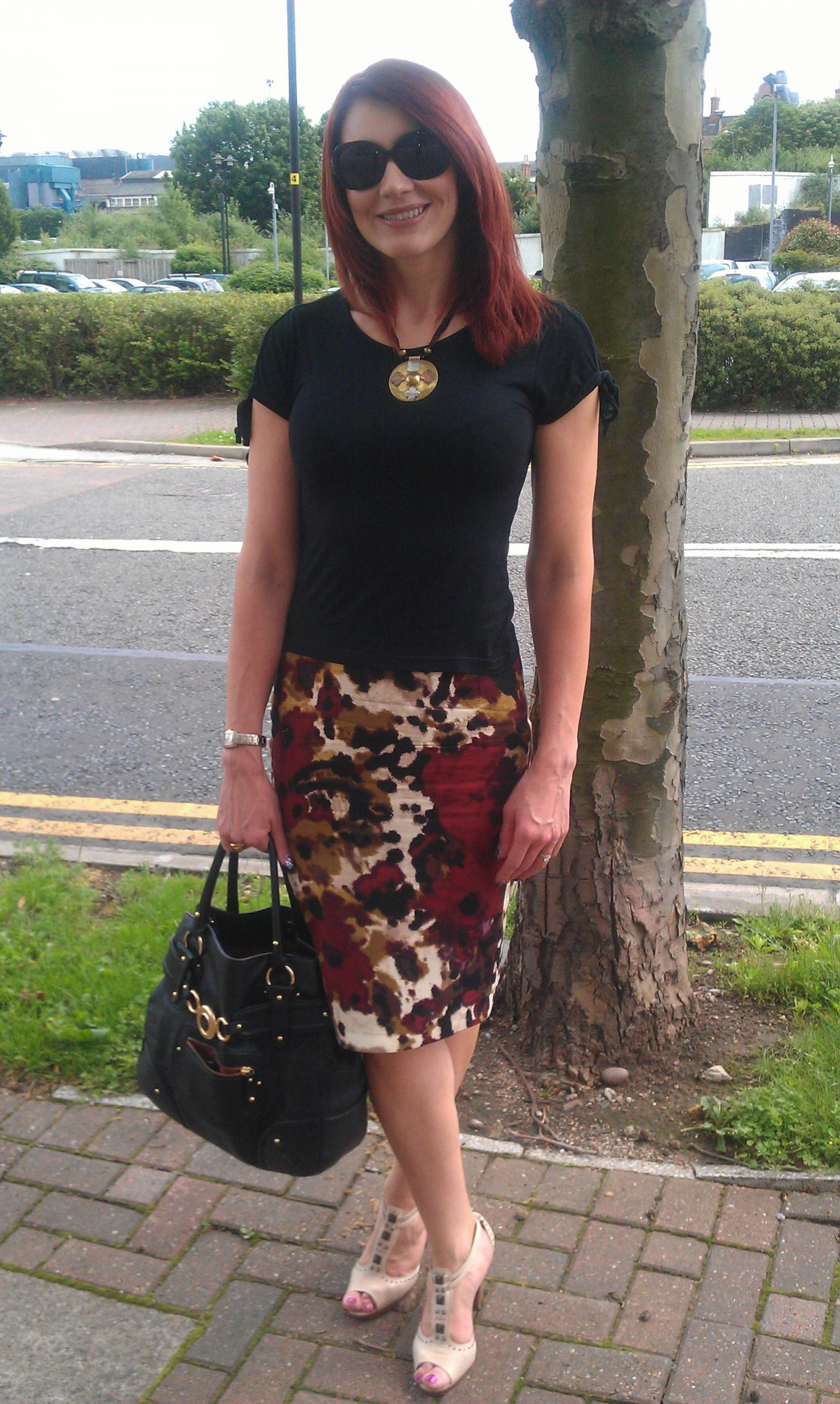 Calm Before the Storm: Abstract Print Pencil Skirt & Black Tee