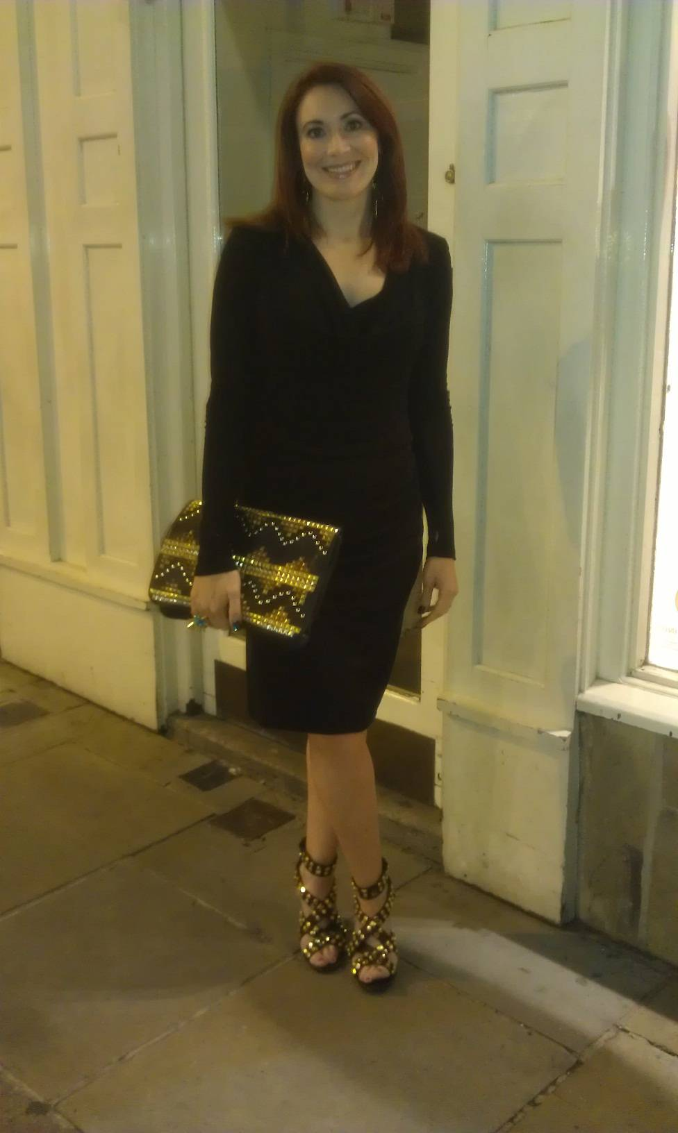 Spikes and Studs, Bastyan black dress, Asos studded clutch, Tory Burch black studded strappy sandals