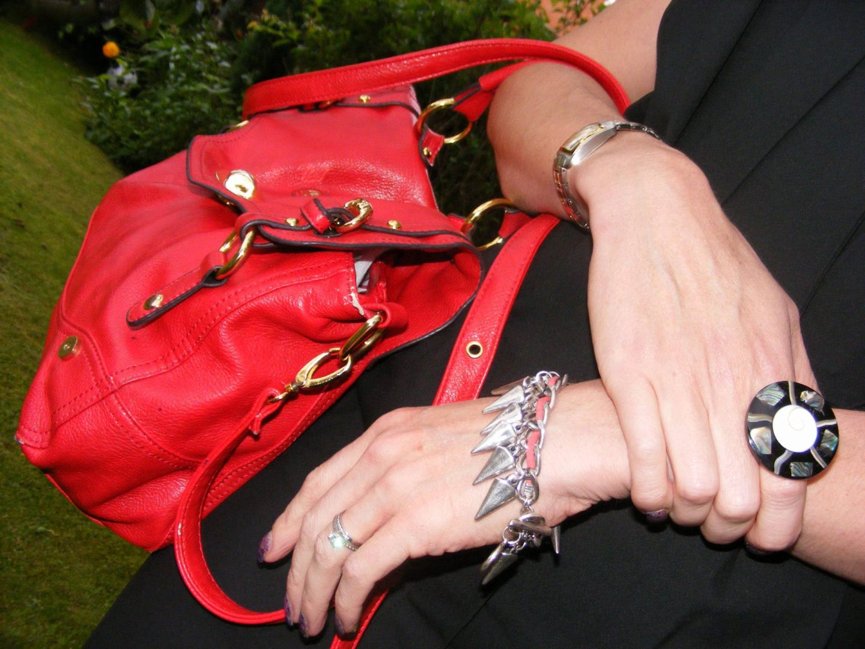 Asos silver spike bracelet, Juno red satchel