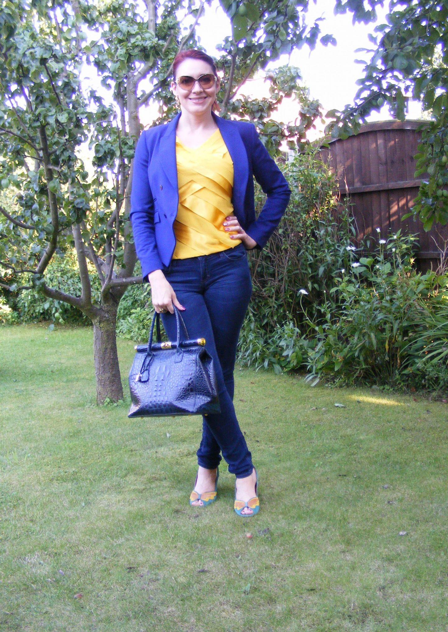 Sunshine and Blue Sky, Zara blue blazer, Ben de Lisi for Principles yellow top