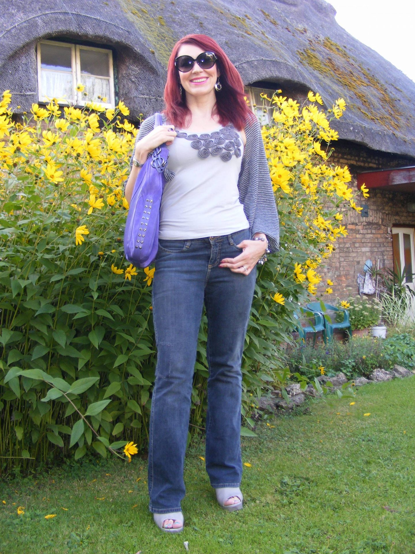 Grey Vest and Jeans With a Pop of Purple