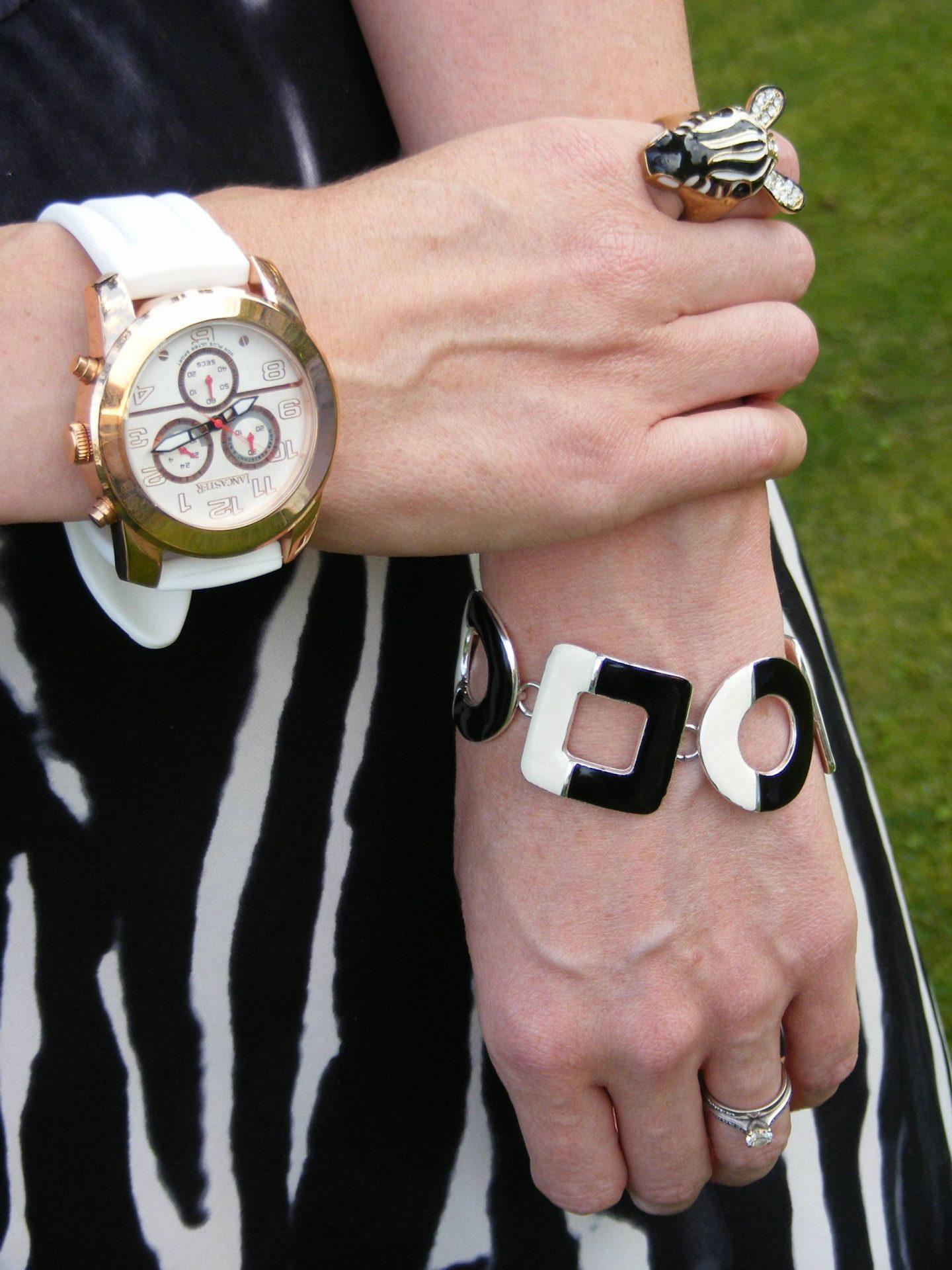 Lancaster white watch, Zebra ring