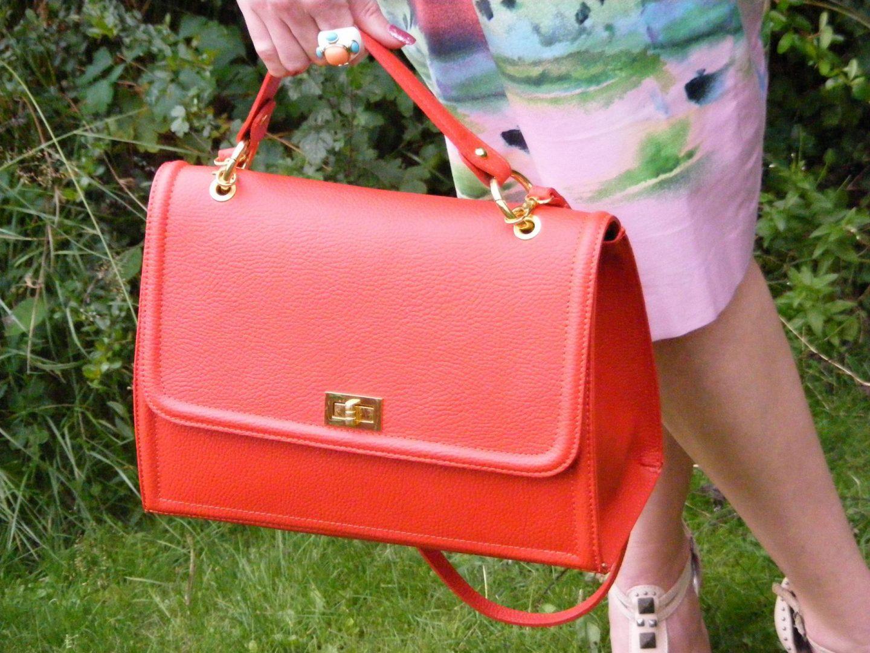 orange Alexia top handle bag