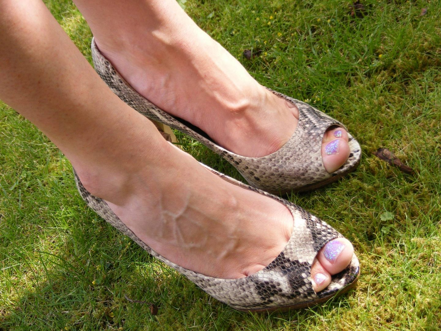 Marks and Spencer Autograph snake print peep toe shoes