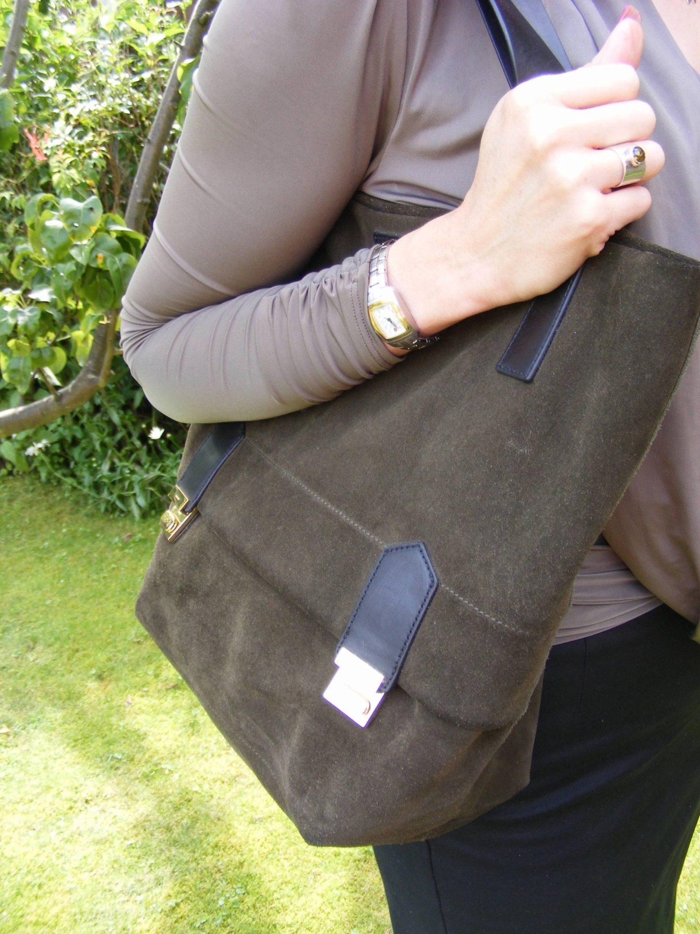 See by Chloe Pencil Skirt and Khaki Draped Top, Jaeger khaki suede bag