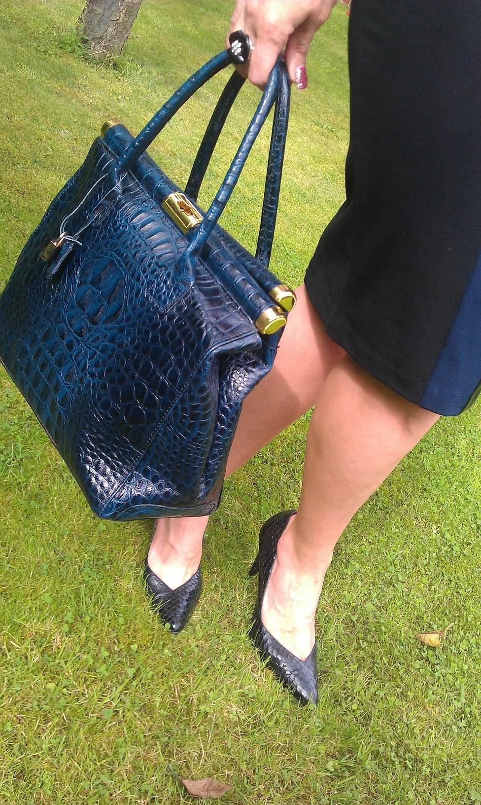 navy mock crocodile print tote bag