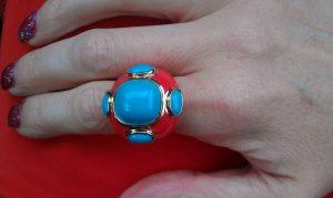 red turquoise enamel ring