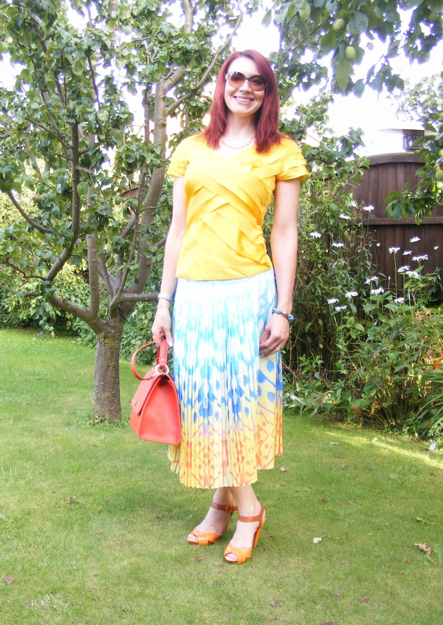 Reiss Pleated Midi Skirt and Yellow Ribbon Top