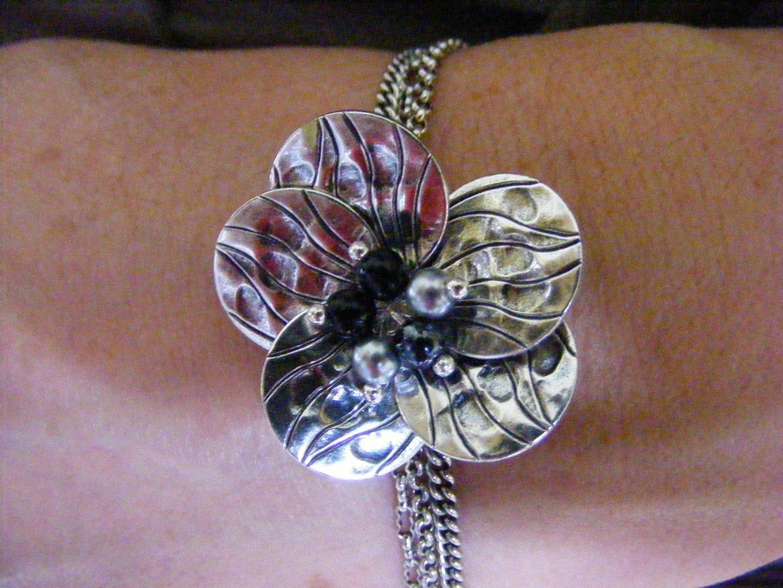 Pia silver flower bracelet