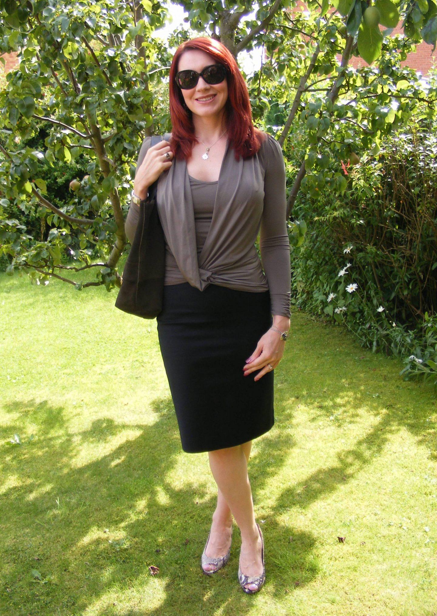 See by Chloe Pencil Skirt and Khaki Draped Top