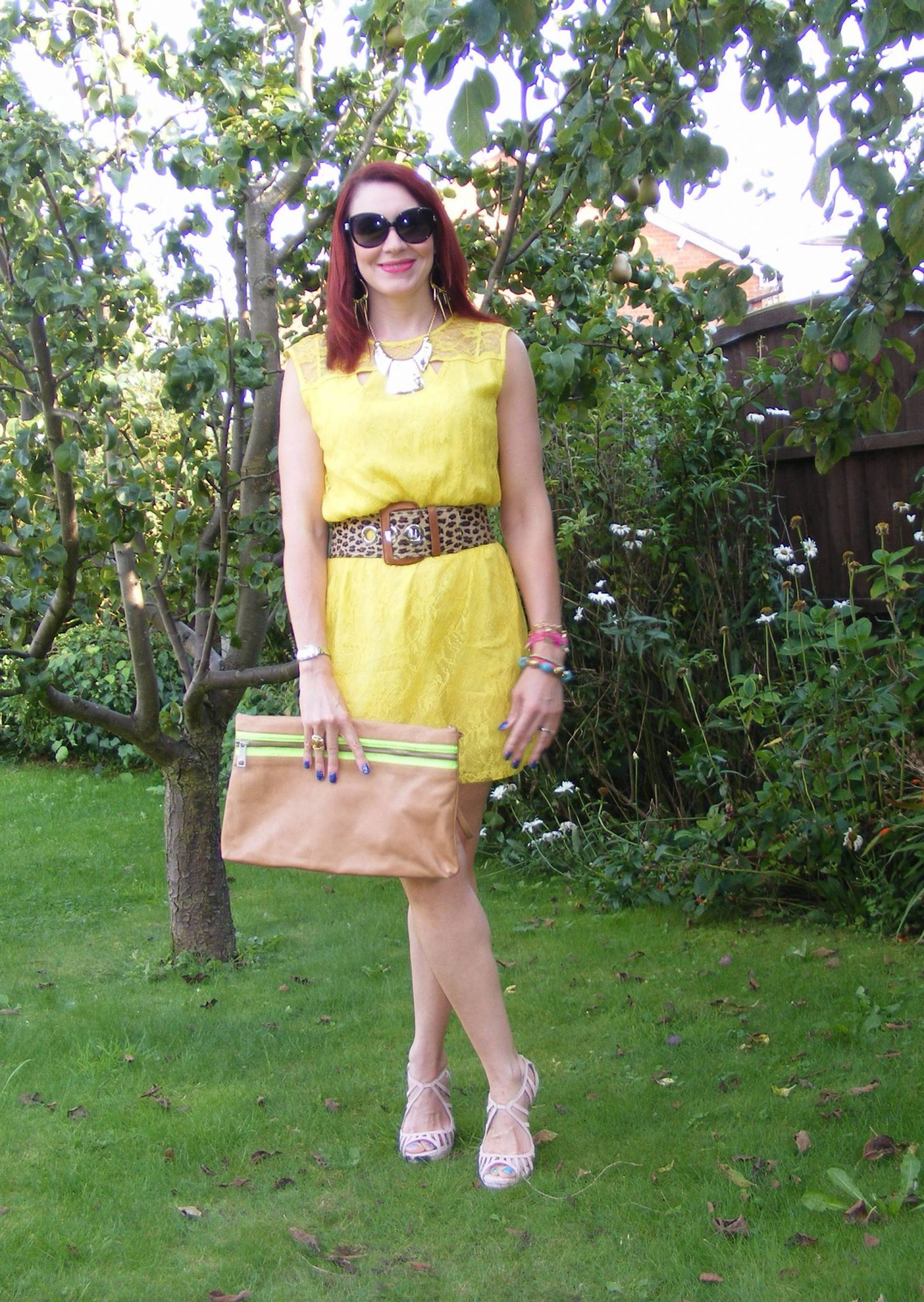 Marks and Spencer Yellow Lace Dress and Leopard Print Belt,