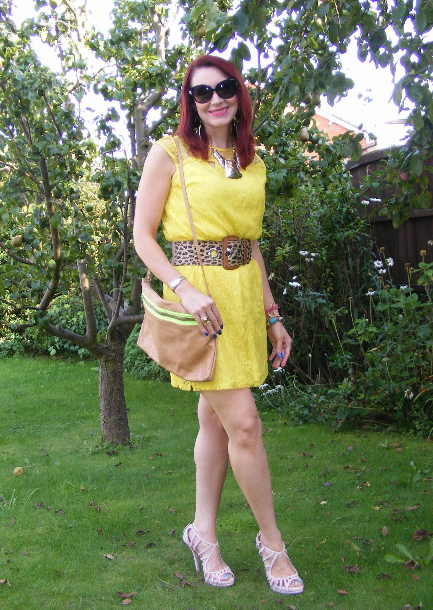 Bargain Yellow Lace Dress and Leopard Print Belt, Zara tan clutch bag