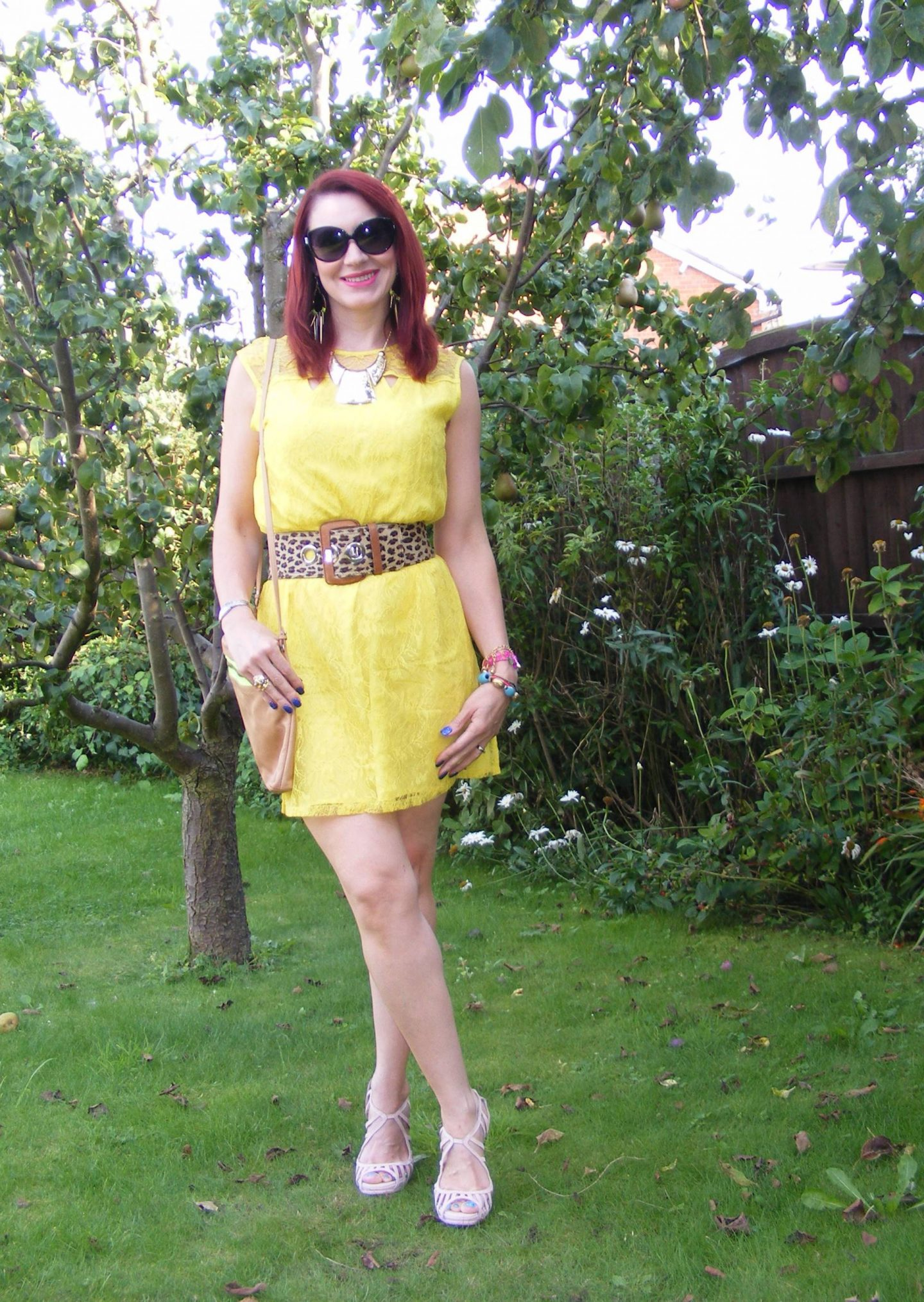 Bargain Yellow Lace Dress and Leopard Print Belt