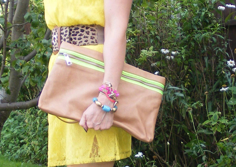 Late Summer Sunshine: Bargain Yellow Lace Dress, Zara tan clutch bag